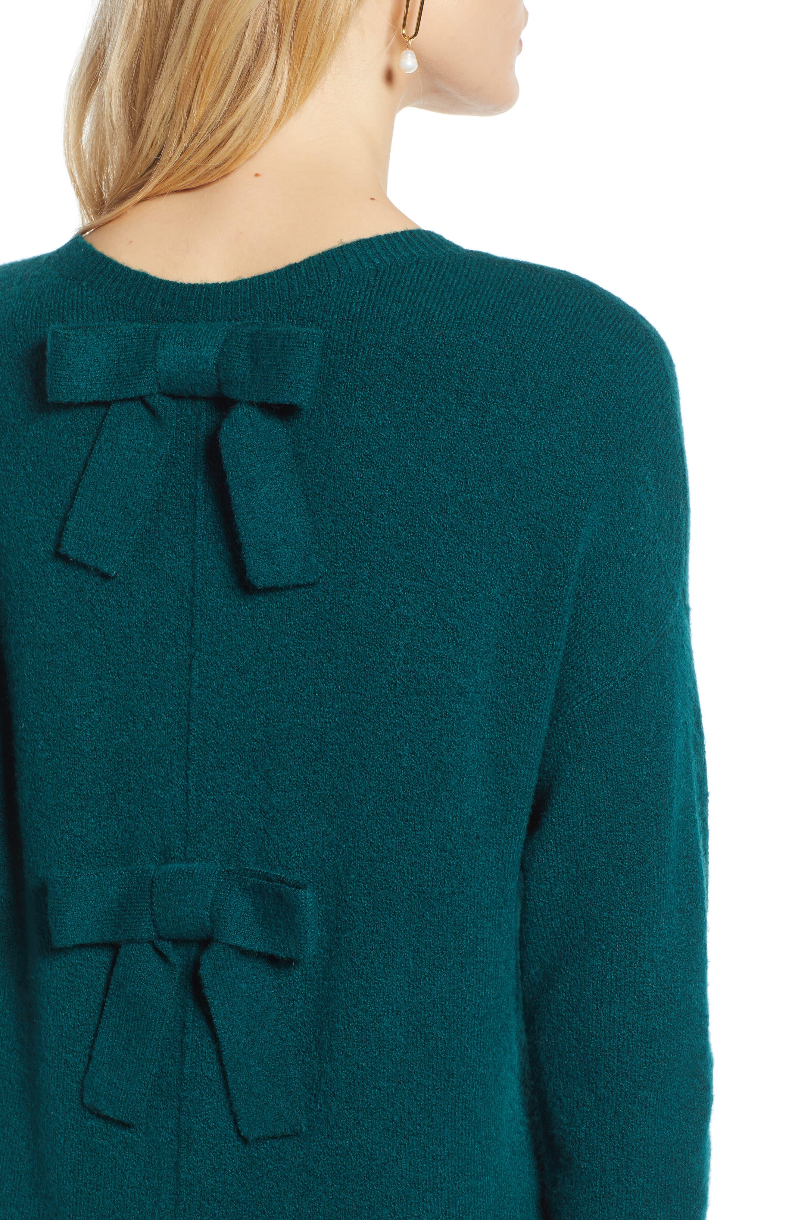 Bow Back Sweater,                             Alternate thumbnail 4, color,                             GREEN BOTANICAL