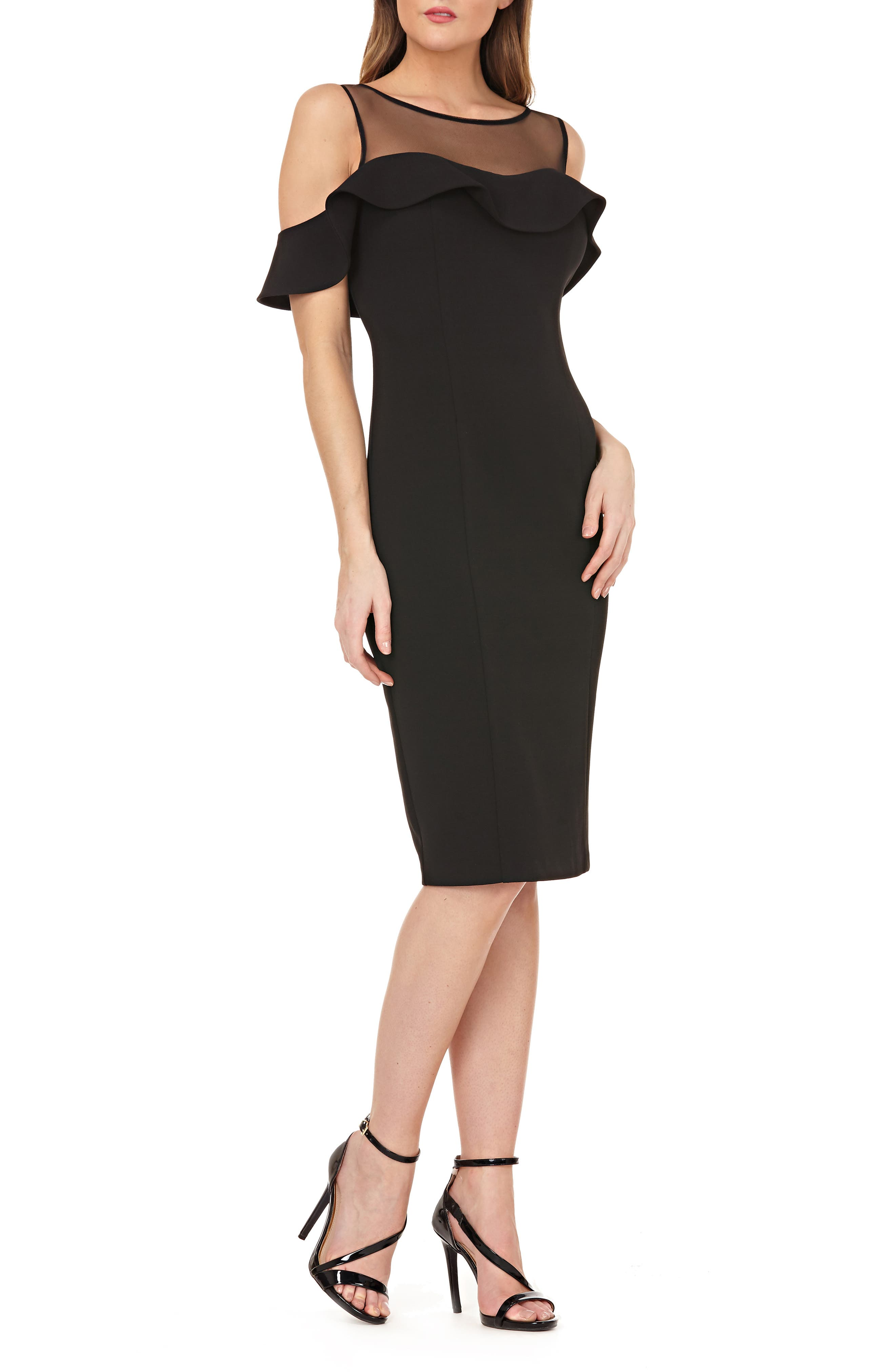 Js Collections Illusion Neck Ruffle Sleeve Cocktail Dress, Black