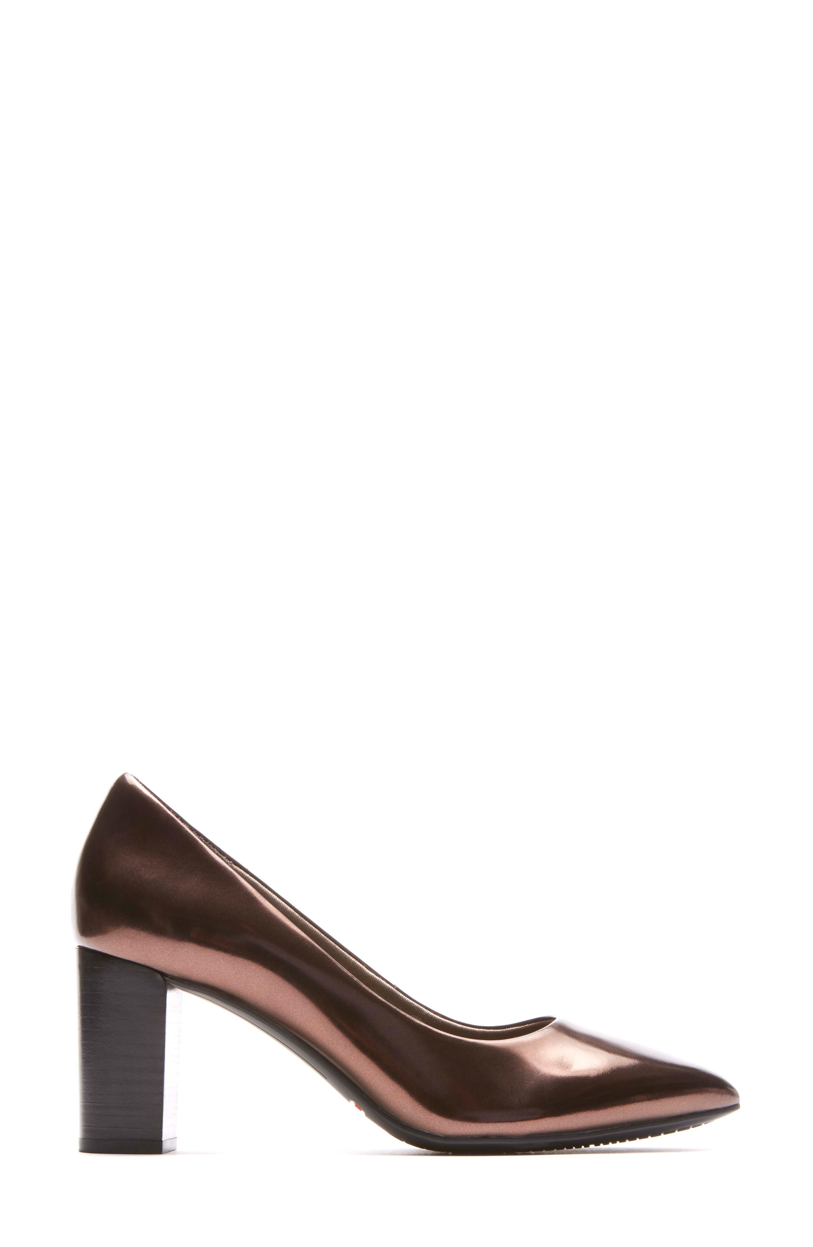 Total Motion Violina Luxe Pointy Toe Pump,                             Alternate thumbnail 3, color,                             BRONZE PATENT LEATHER