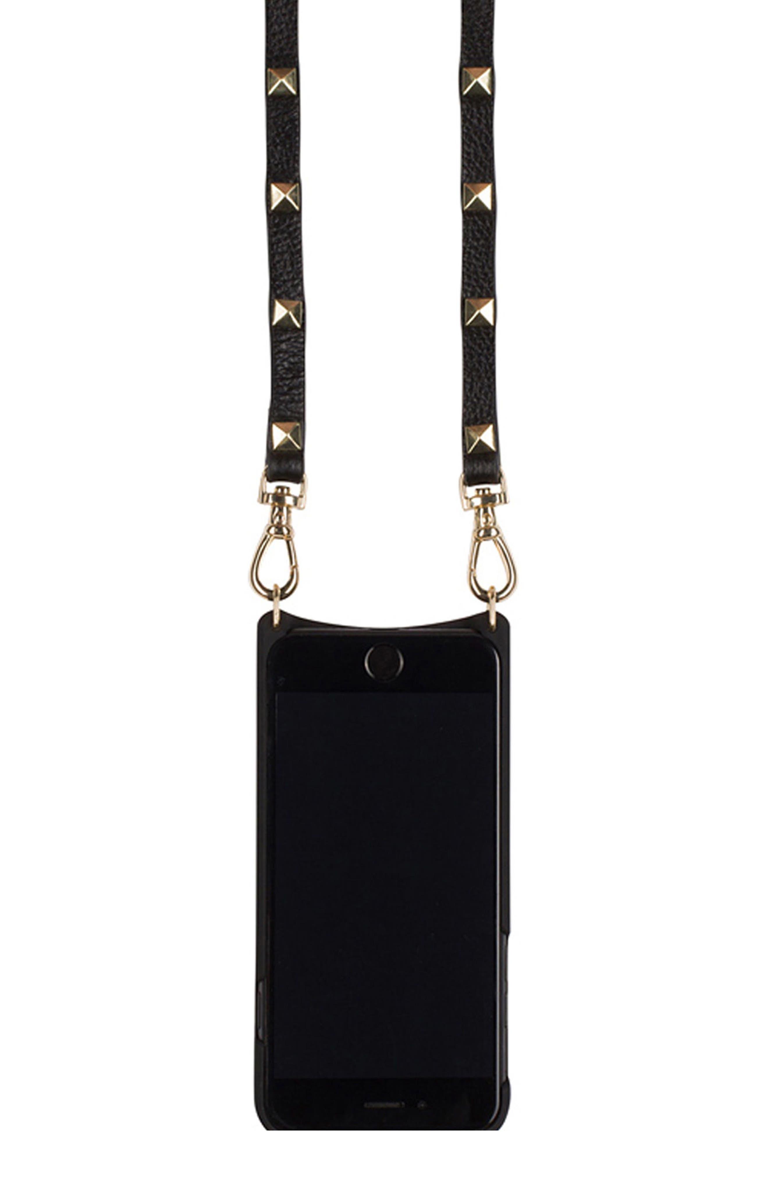 Sarah Leather iPhone 6/7 Plus Crossbody Case,                             Alternate thumbnail 2, color,                             001
