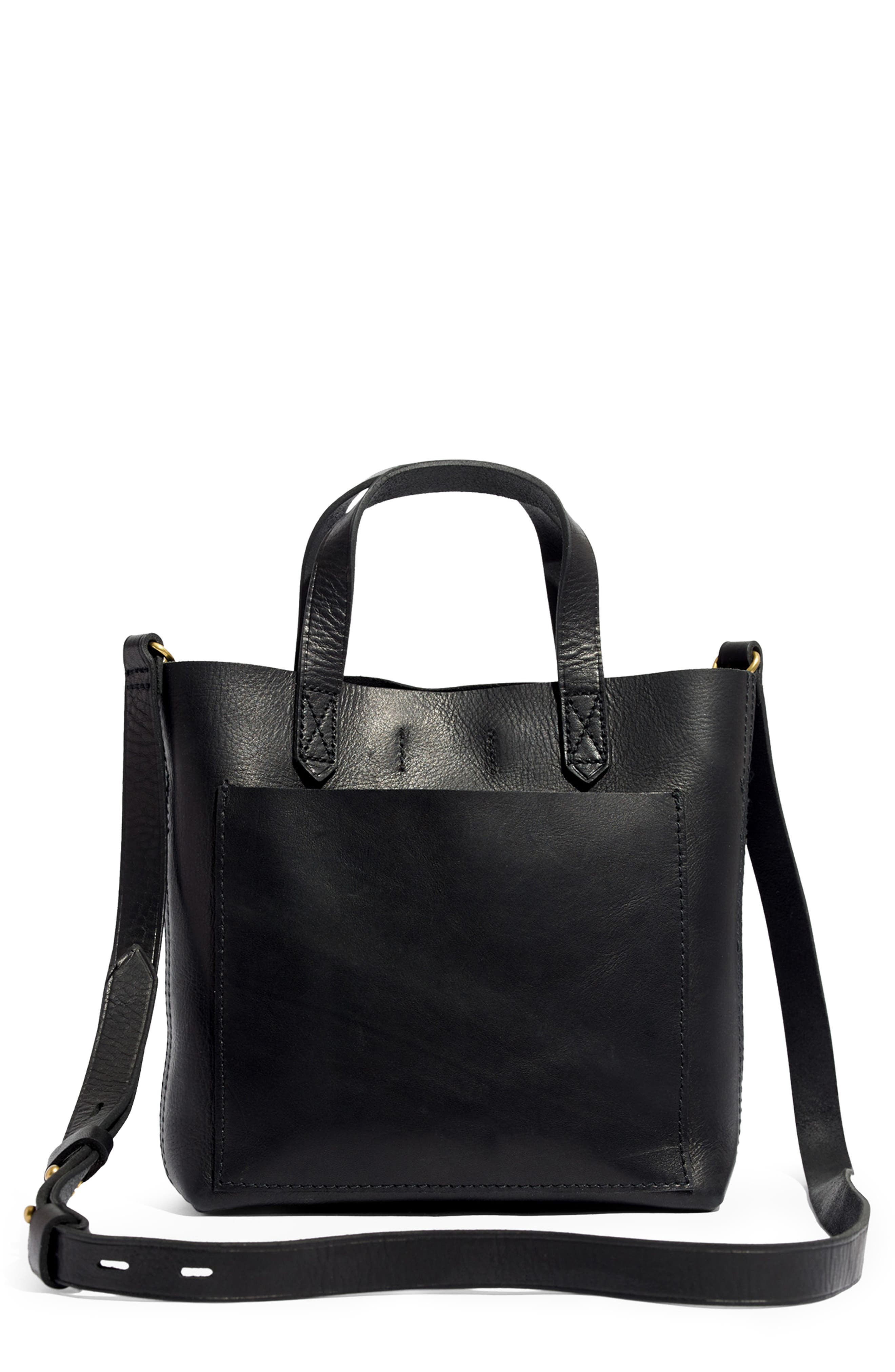 Small Transport Leather Crossbody,                         Main,                         color, TRUE BLACK
