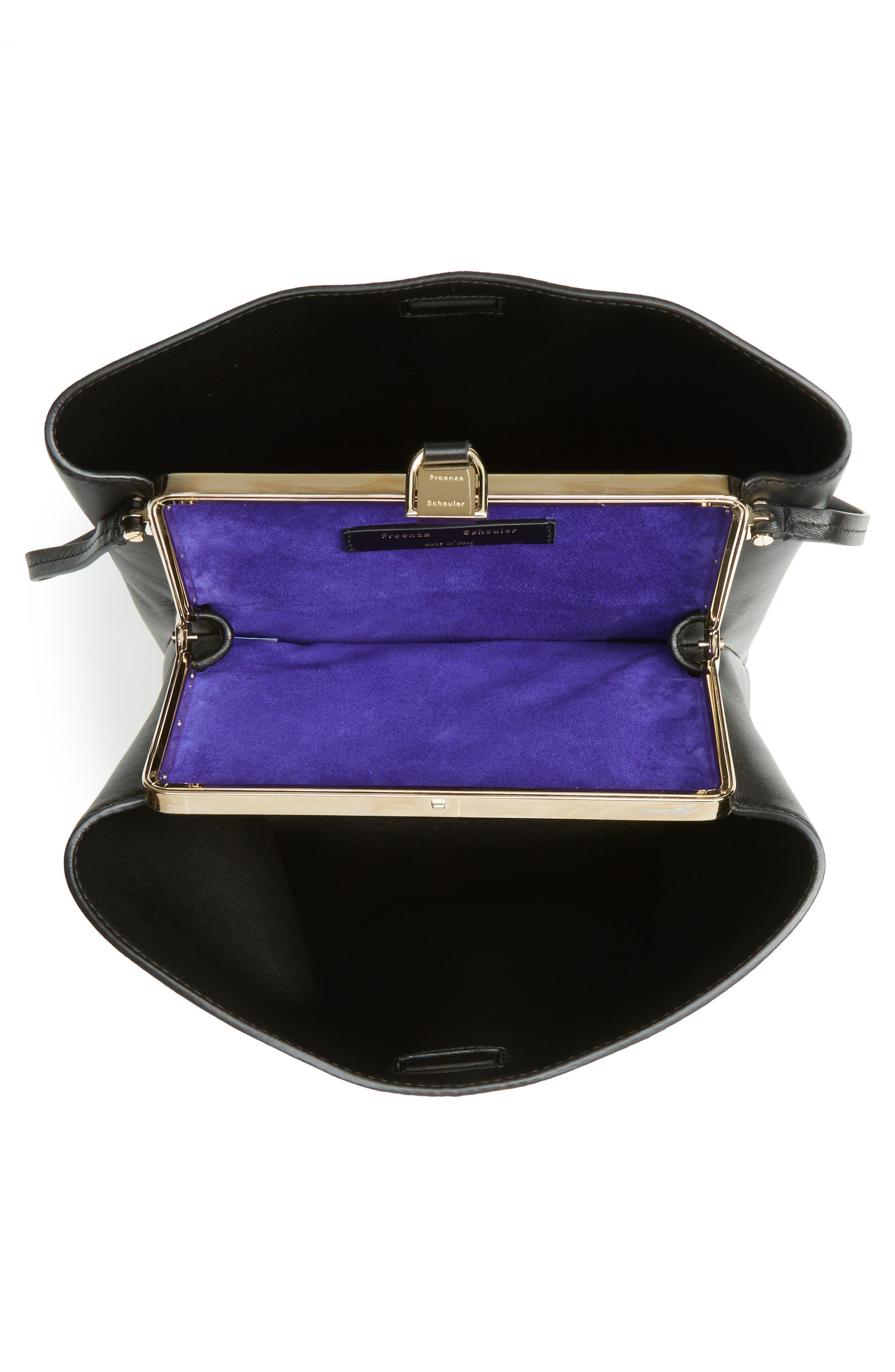 Frame Leather Shoulder Bag,                             Alternate thumbnail 4, color,                             BLACK/ BLACK