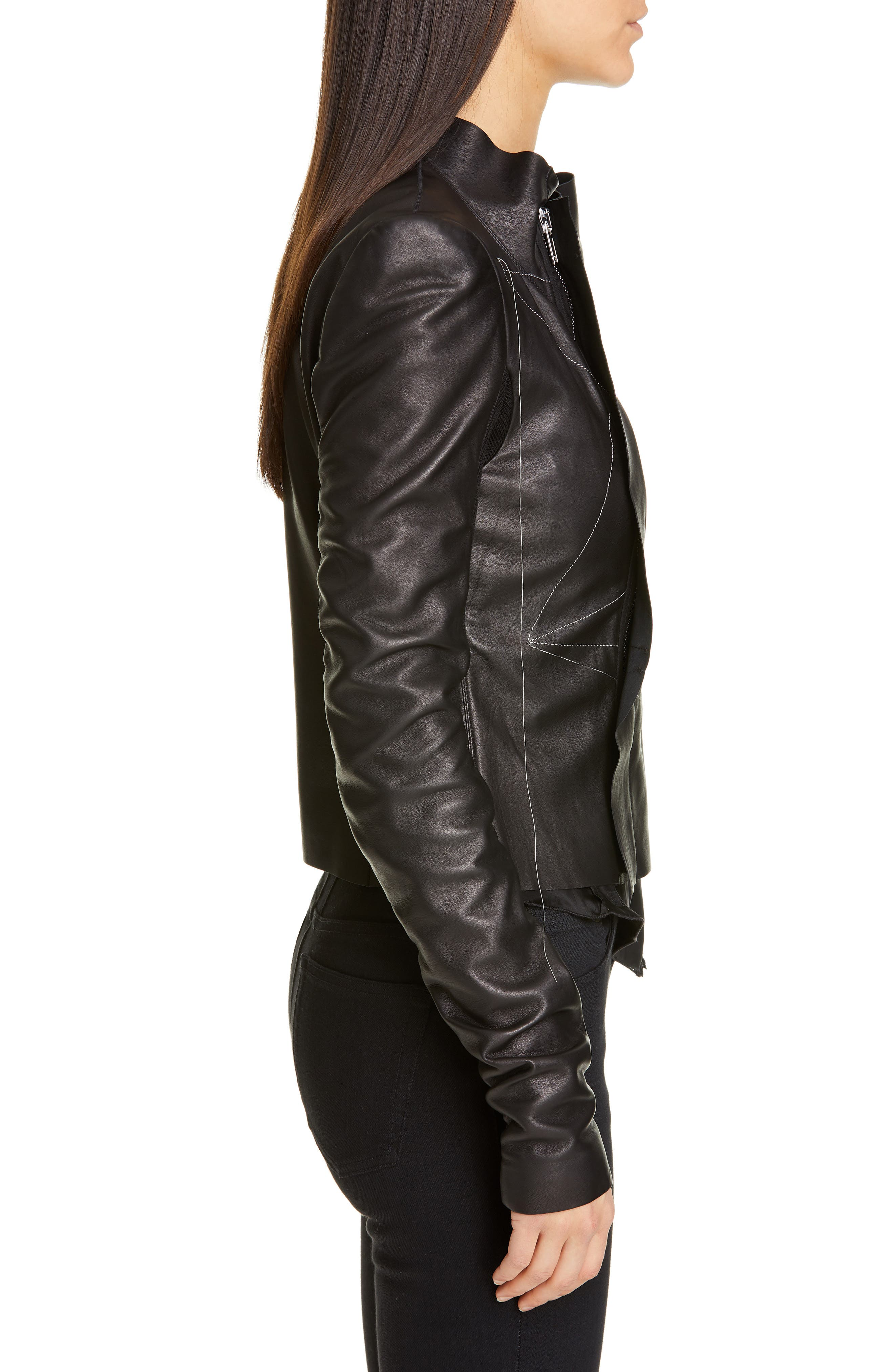 RICK OWENS,                             Embroidered Leather Biker Jacket,                             Alternate thumbnail 3, color,                             BLACK PEARL