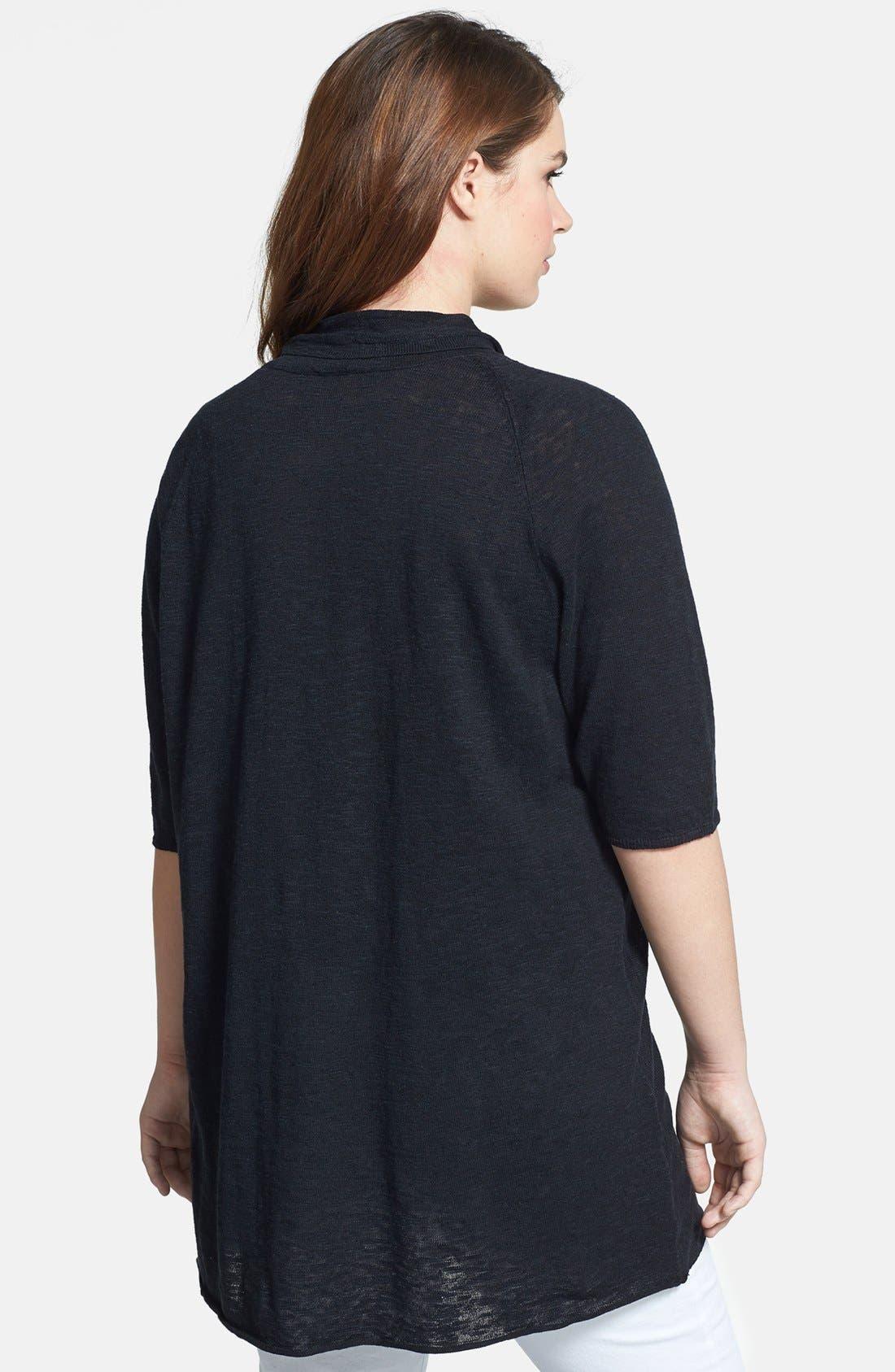 Elbow Sleeve Linen & Cotton Cardigan,                             Alternate thumbnail 2, color,                             001