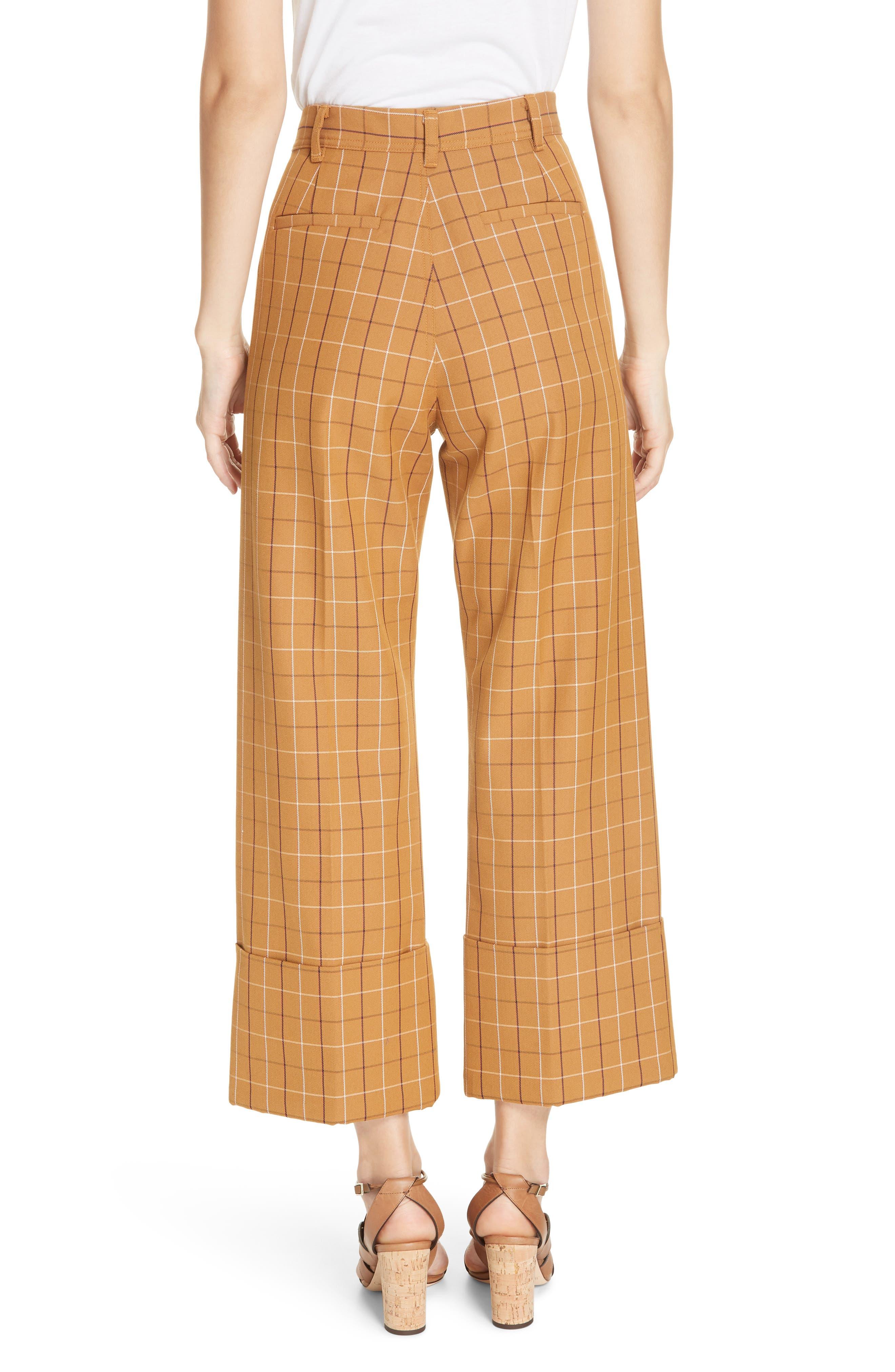 SEA,                             Poirot Plaid Cuff Pants,                             Alternate thumbnail 2, color,                             CARAMEL MULTI