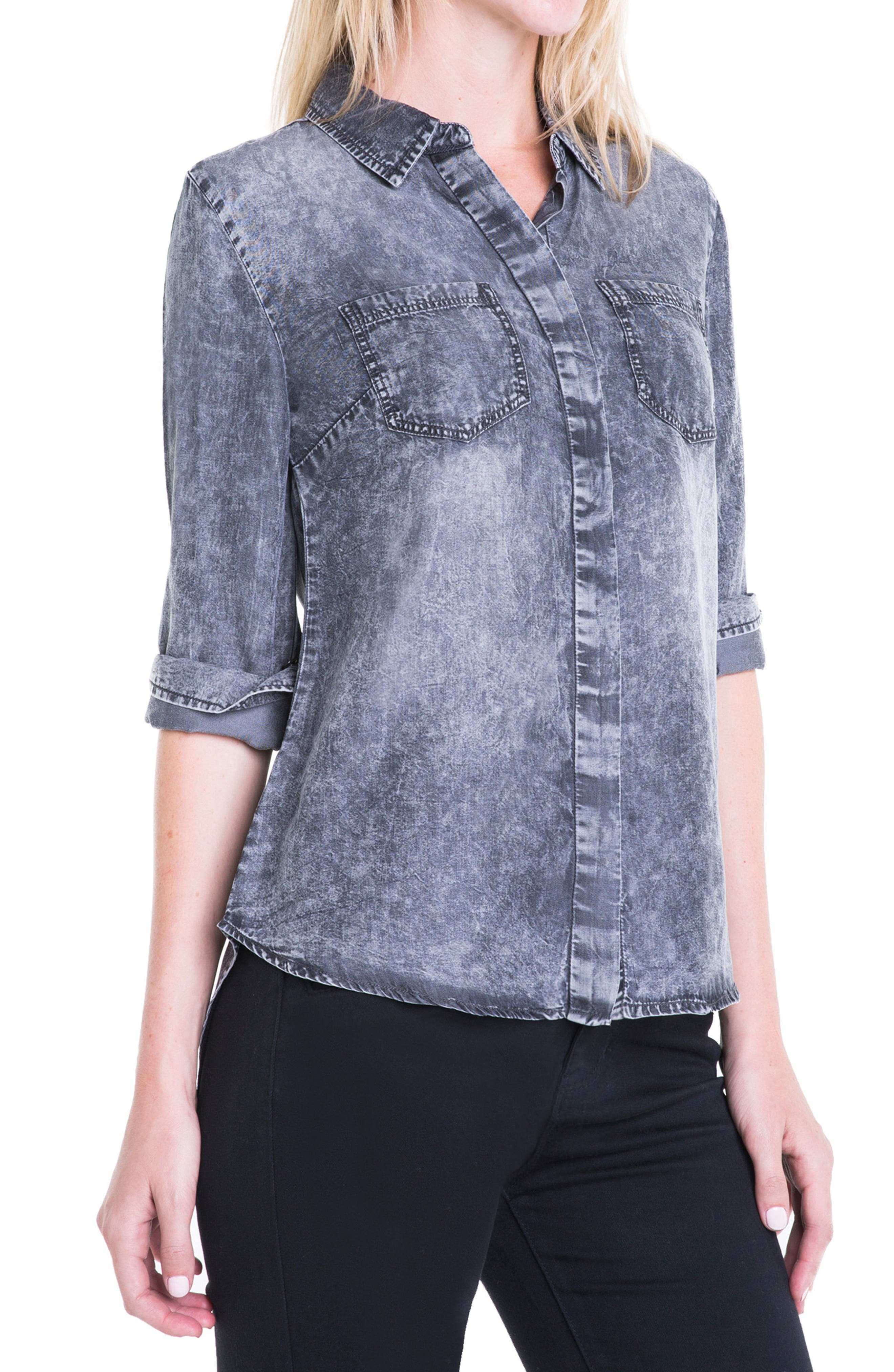 Button Back Chambray Shirt,                             Alternate thumbnail 3, color,
