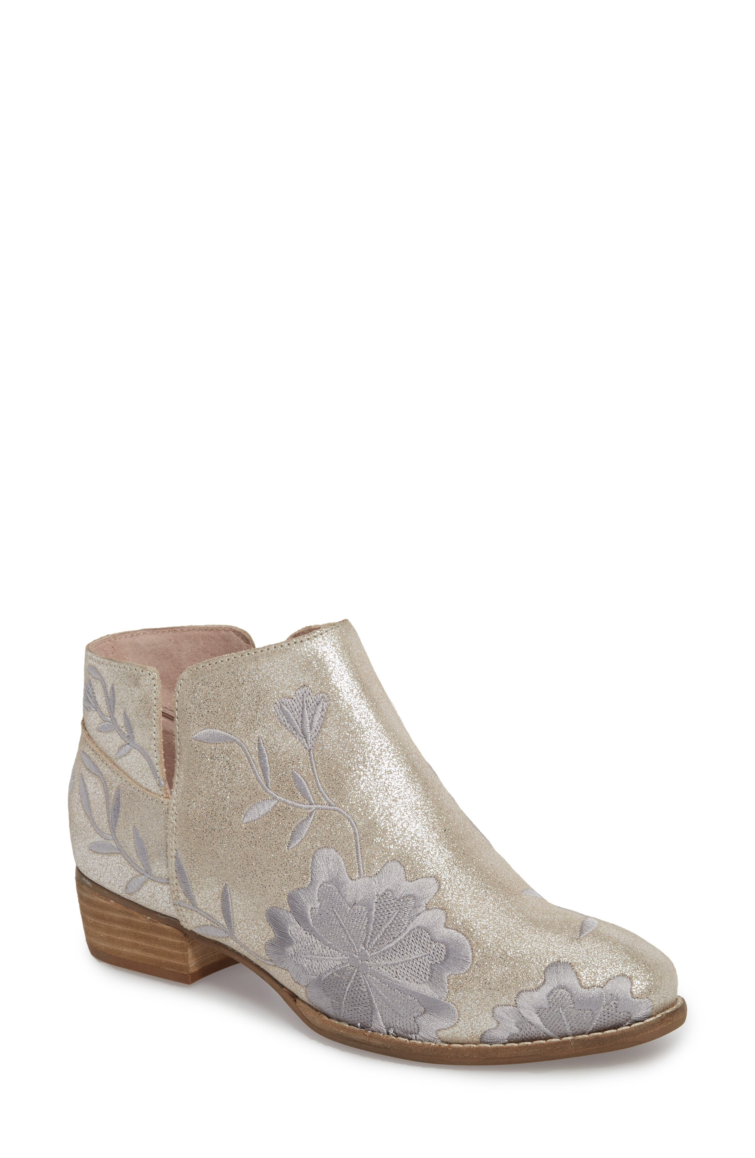 Lantern Embroidered Short Bootie,                             Main thumbnail 1, color,                             SILVER SUEDE