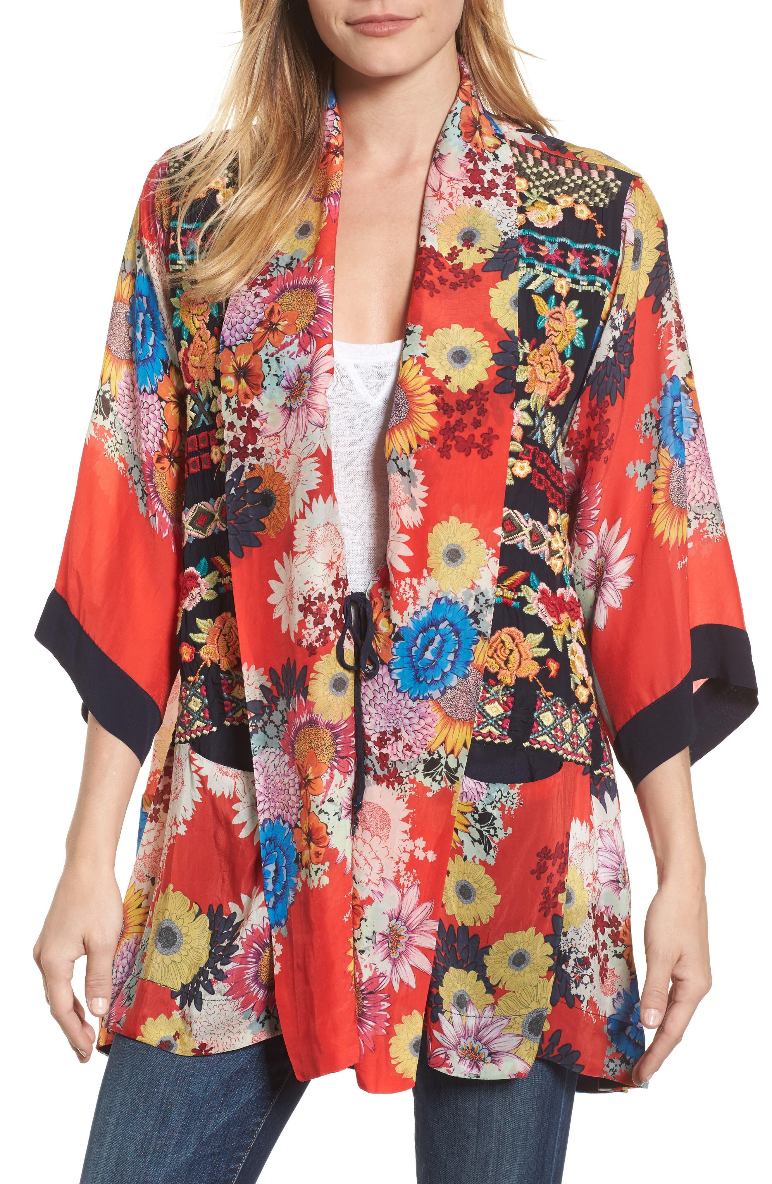 Mishka Embroidered Silk Kimono,                             Alternate thumbnail 4, color,                             600