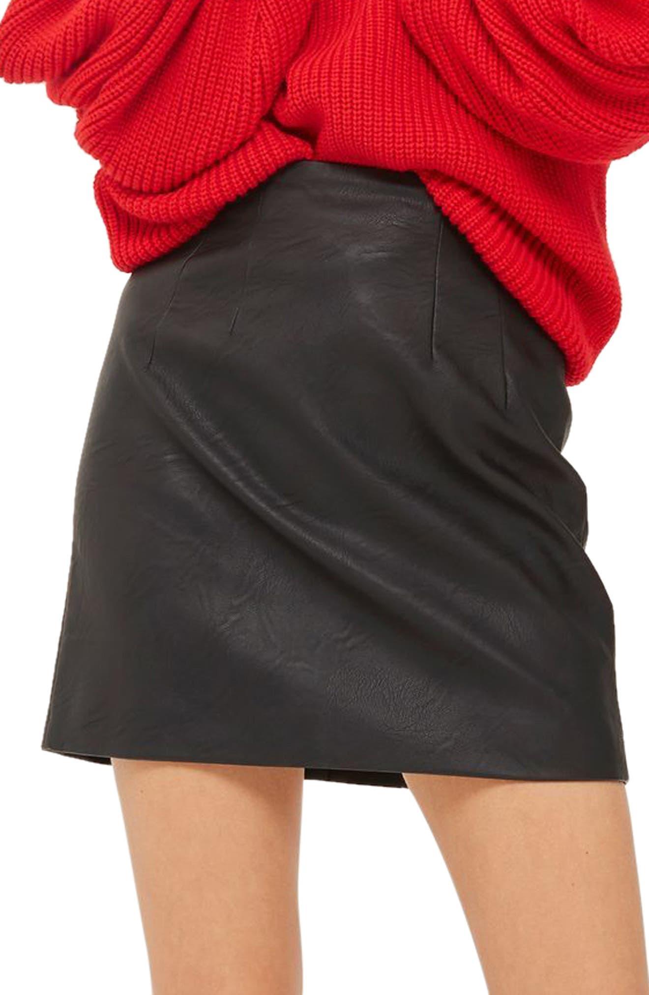 Faux Leather Pencil Miniskirt,                         Main,                         color, 001