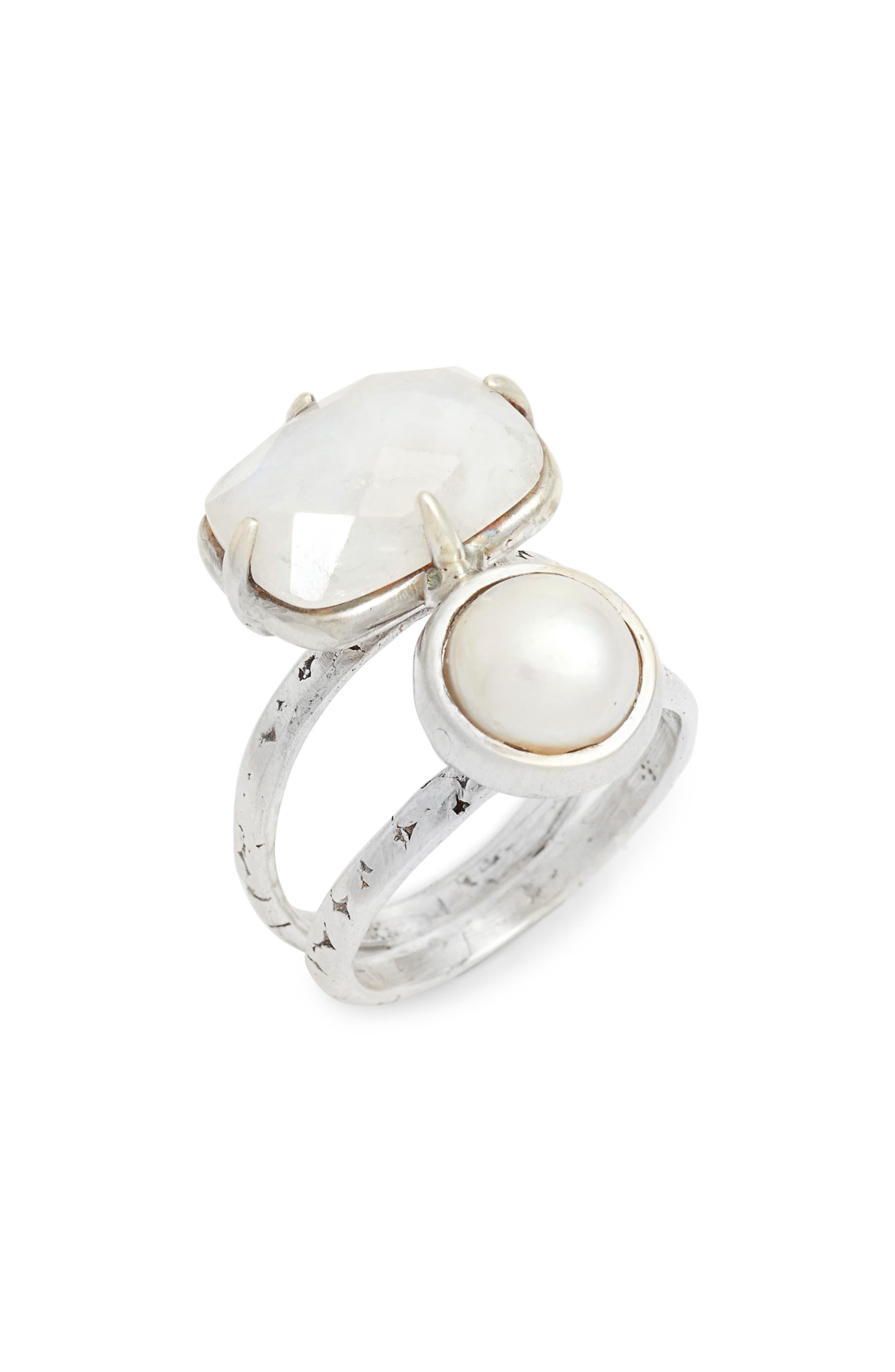 Pearl & Moonstone Ring,                         Main,                         color, 100