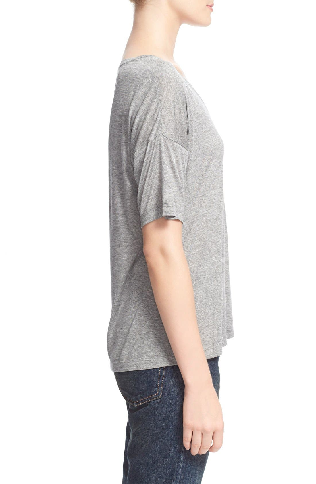 Short Sleeve Low Neck Tee,                             Alternate thumbnail 3, color,