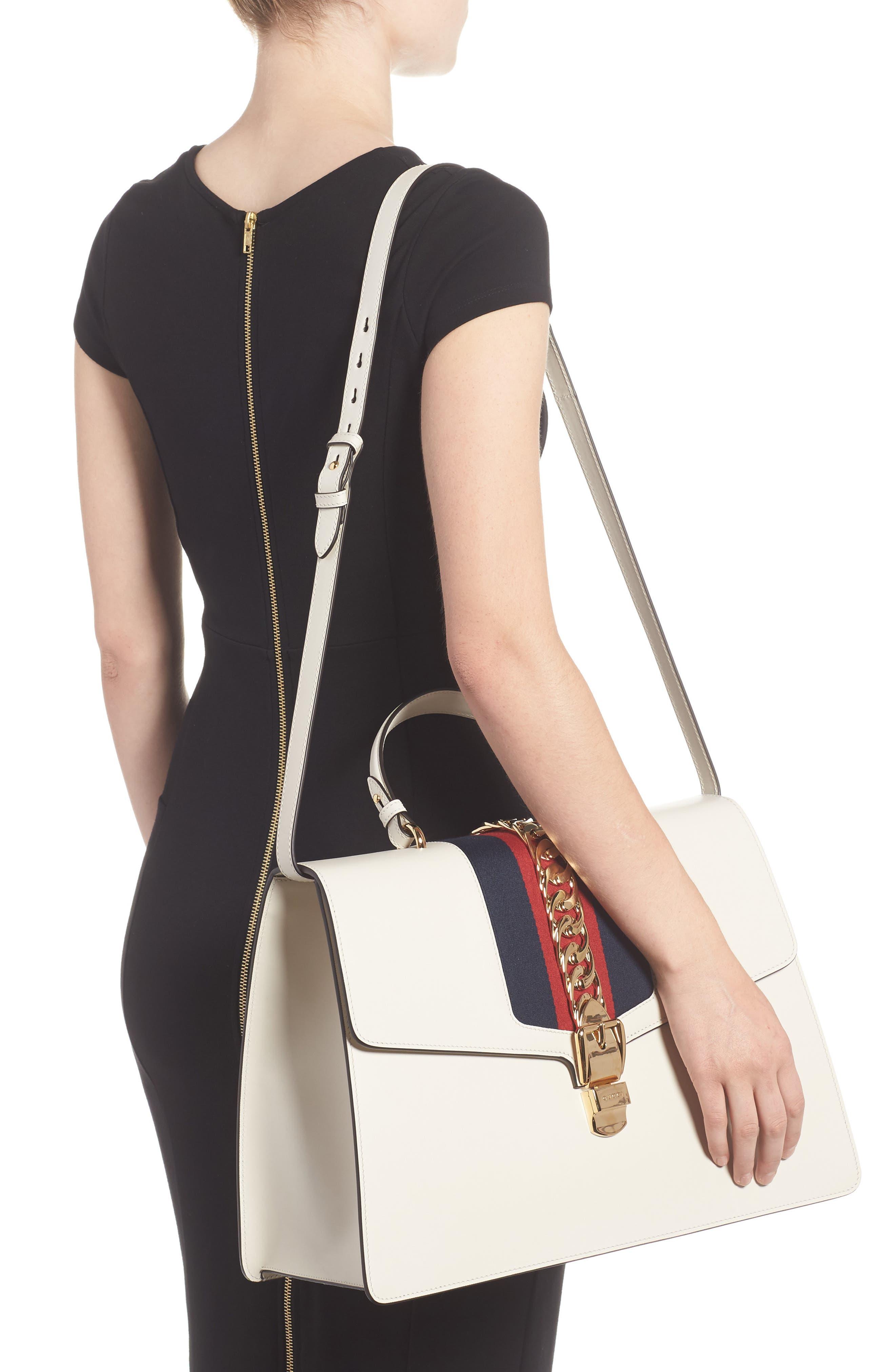 Maxi Sylvie Top Handle Leather Shoulder Bag,                             Alternate thumbnail 2, color,                             MYSTIC WHITE/ BLUE RED