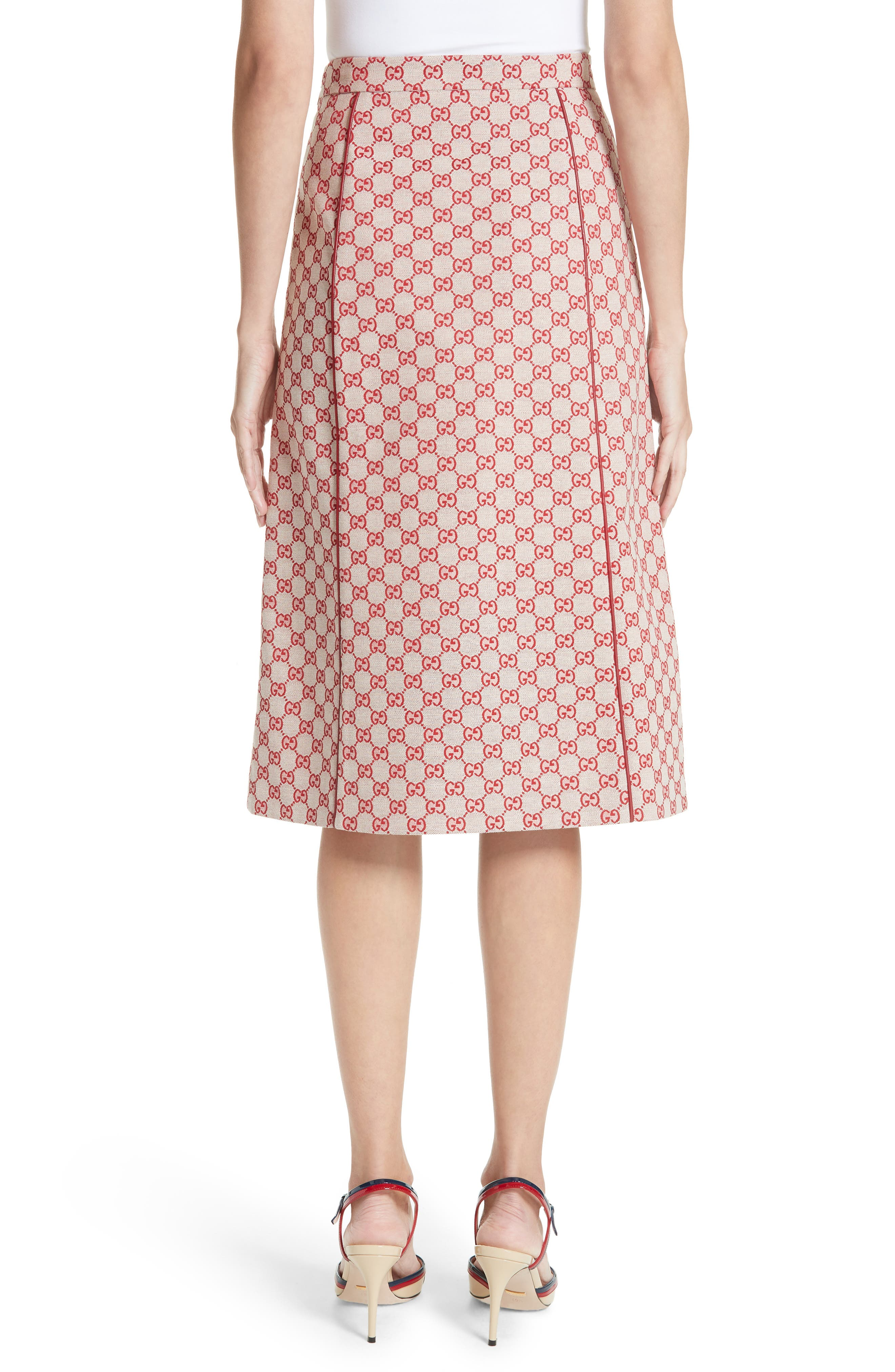 GG Print Canvas A-Line Skirt,                             Alternate thumbnail 2, color,                             GARDENIA/ HIBISCUS RED