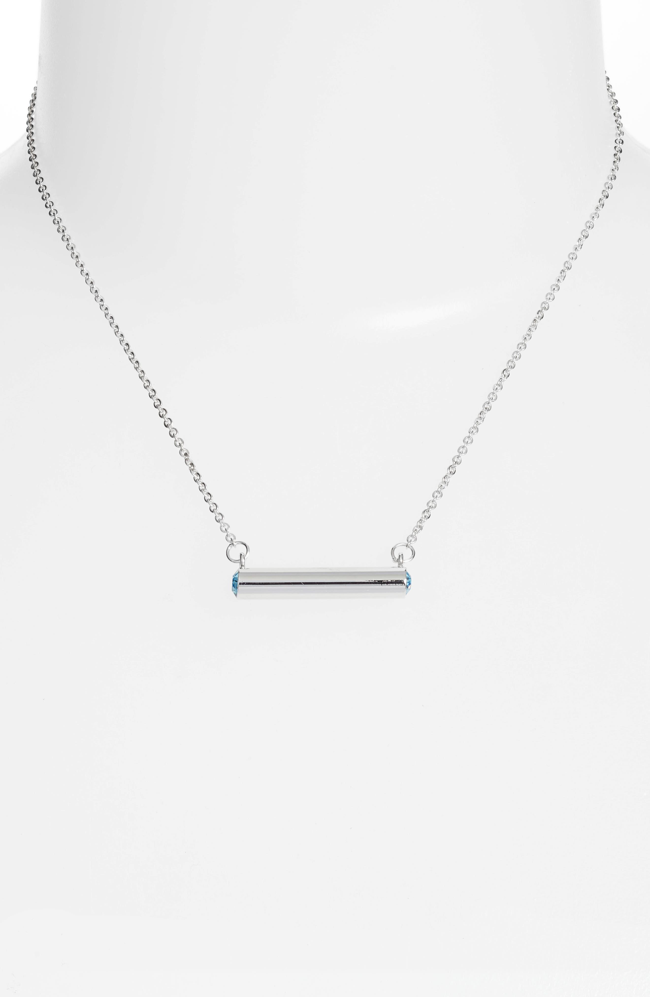 September Crystal Bar Pendant Necklace,                             Alternate thumbnail 2, color,                             SILVER