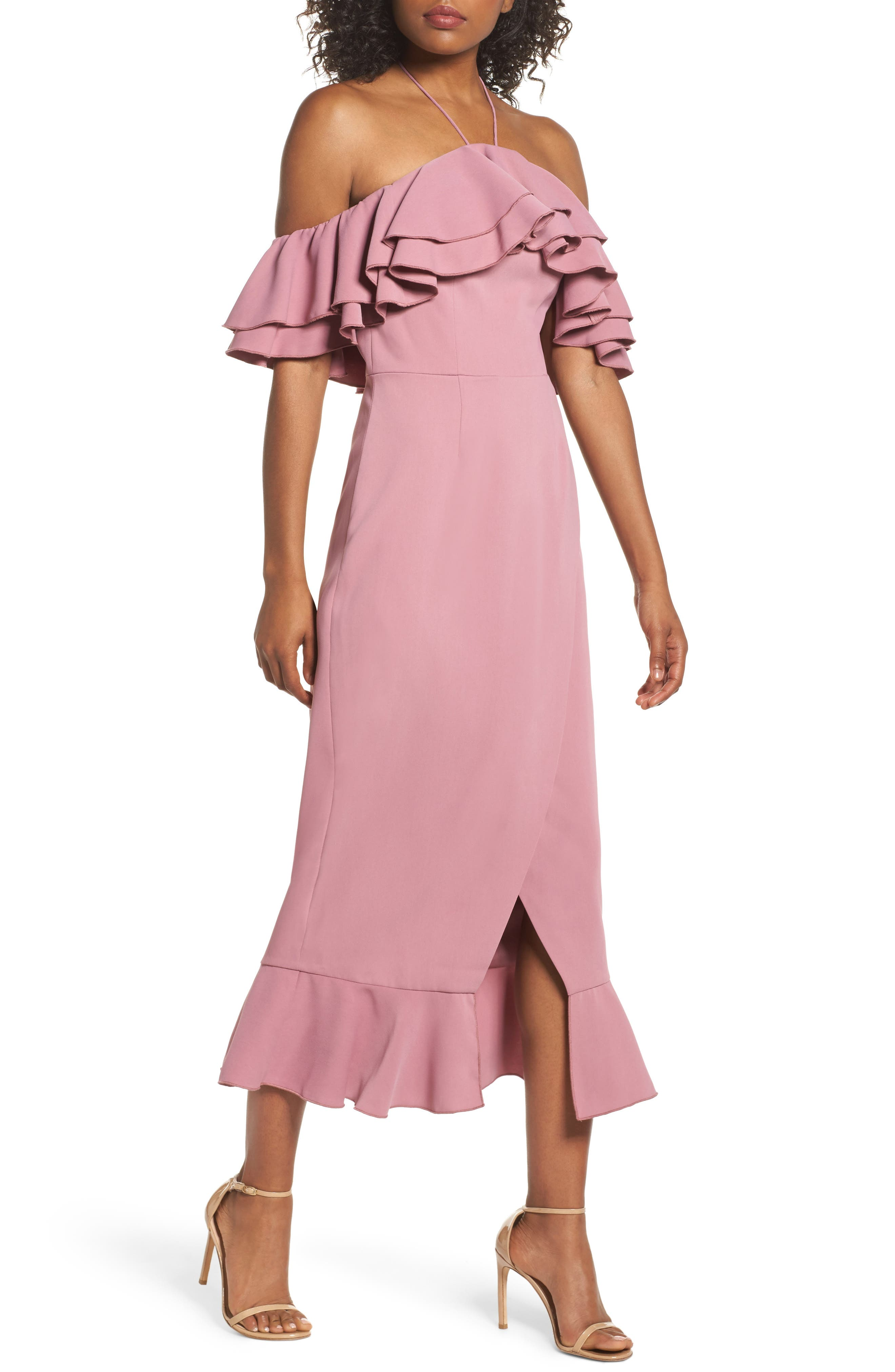 Temptation Ruffle Cold Shoulder Dress,                             Alternate thumbnail 5, color,