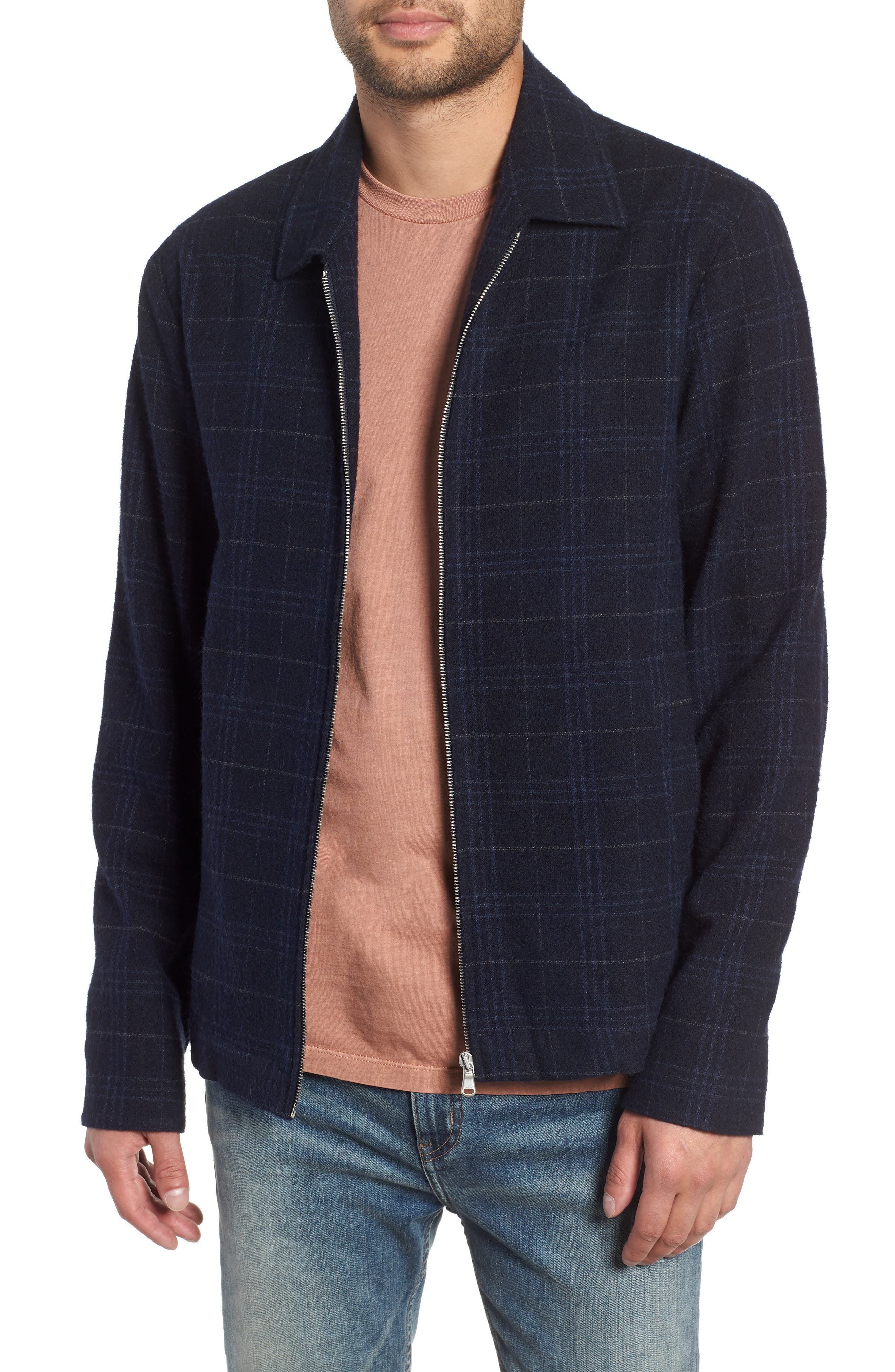 WAX LONDON Witham Coach's Jacket, Main, color, NAVY CHECK