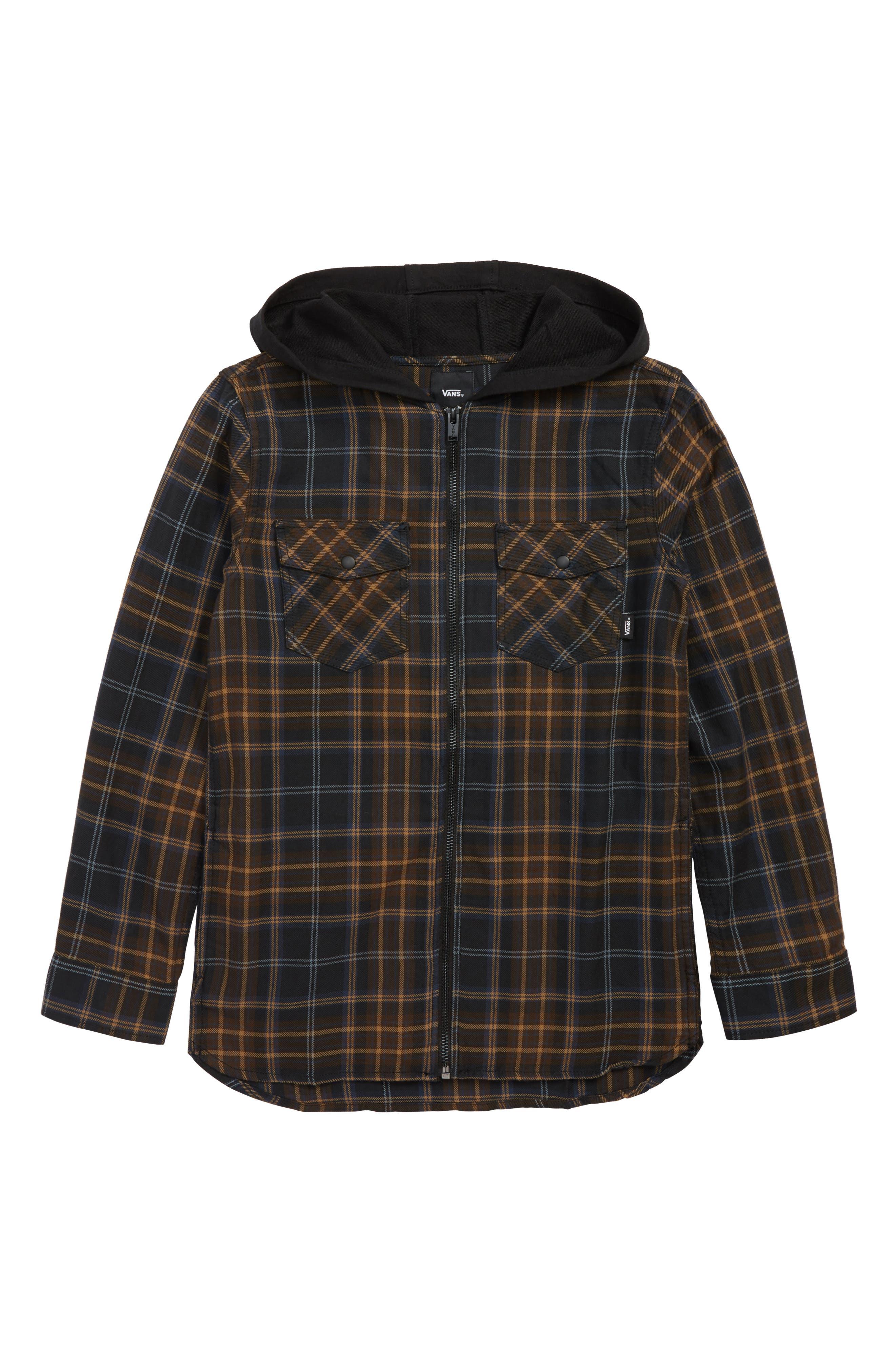 Higgins Zip Flannel Shirt,                         Main,                         color, BLACK DEMITASSE