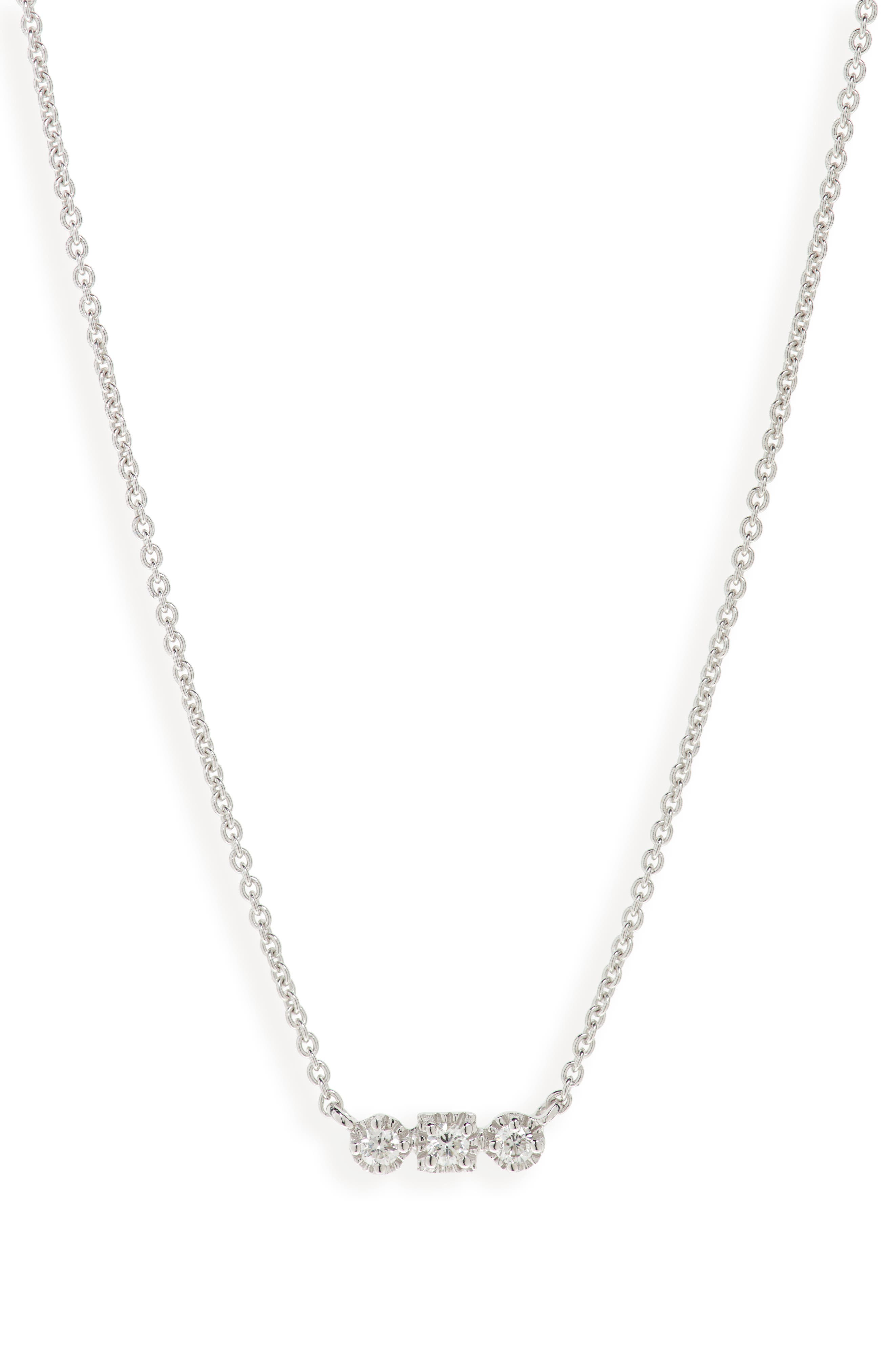 Maya 3-Stone Horizontal Necklace,                             Main thumbnail 1, color,                             WHITE GOLD/ DIAMOND