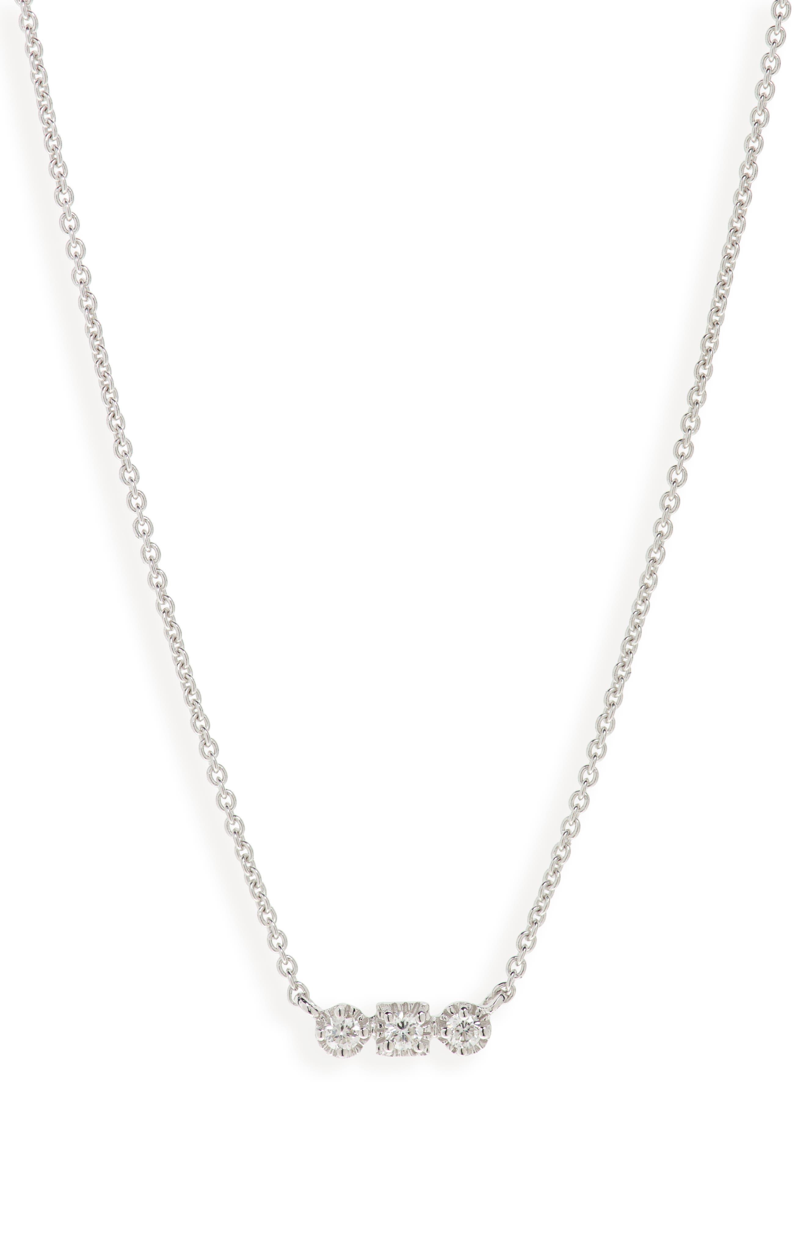 Maya 3-Stone Horizontal Necklace,                         Main,                         color, WHITE GOLD/ DIAMOND