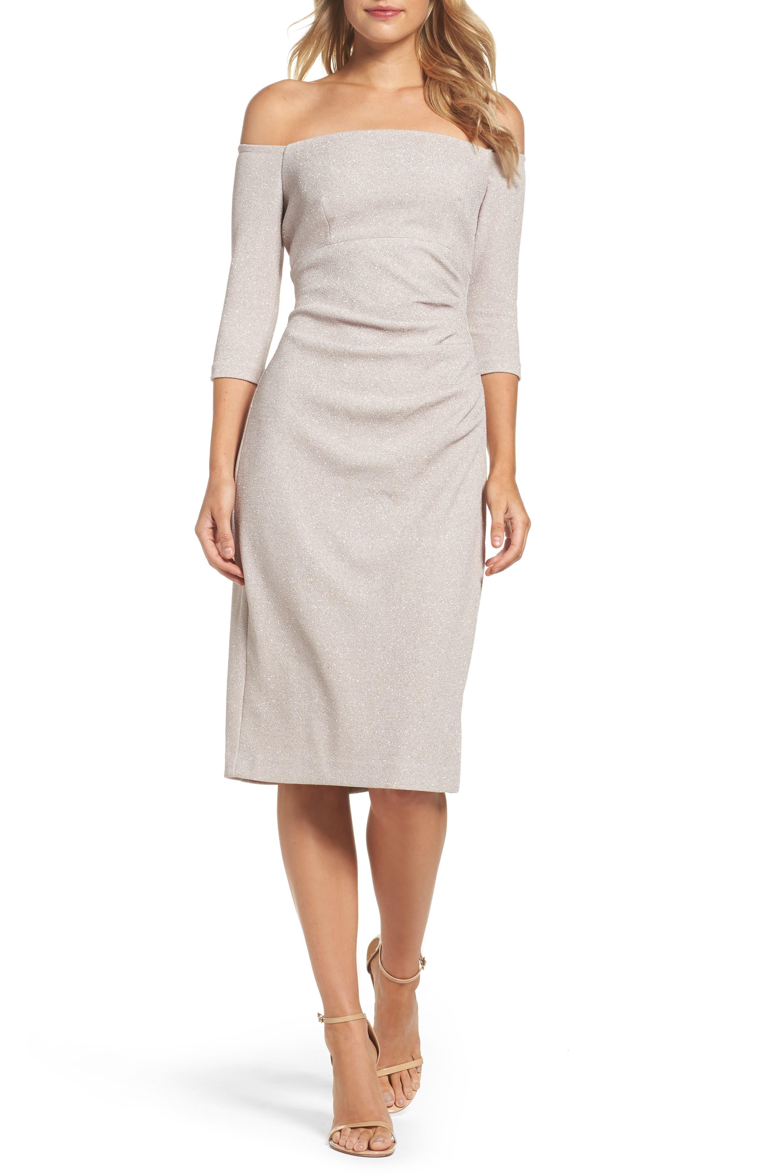 Off the Shoulder Sheath Dress,                         Main,                         color, CHAMPAGNE