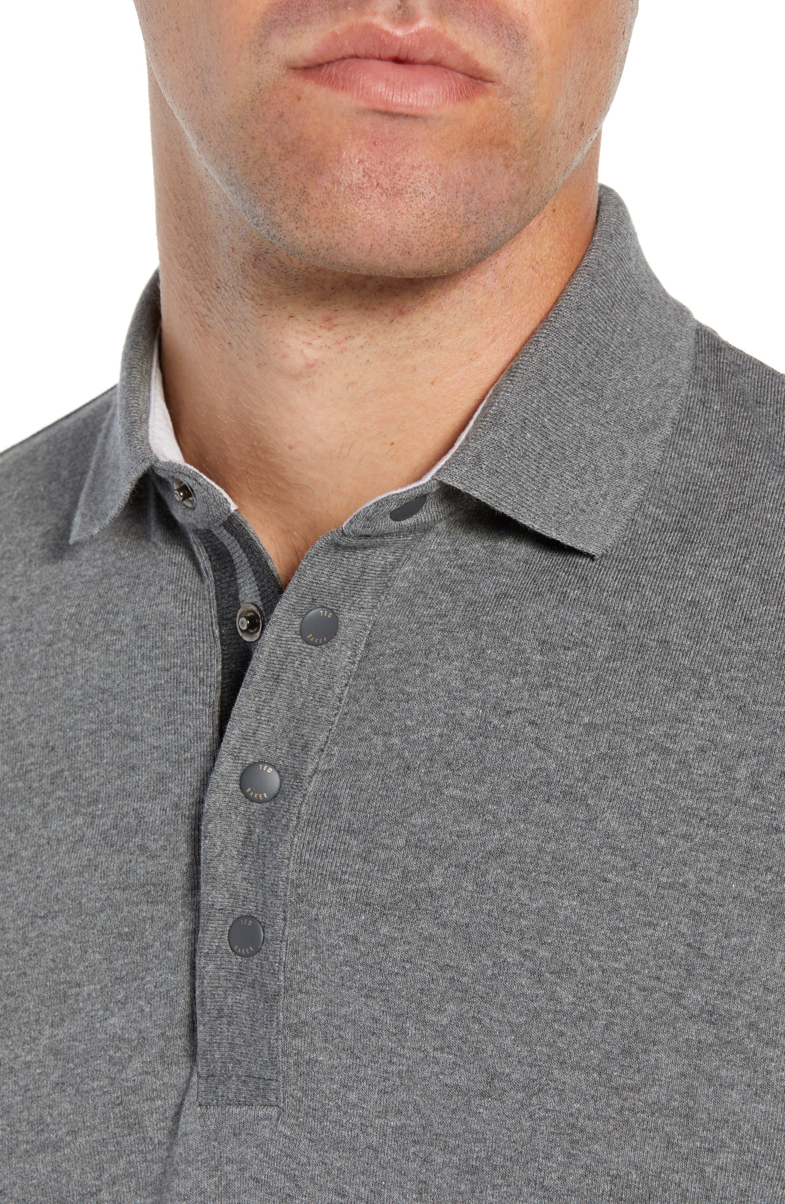 Longfiz Slim Fit Ribstart Polo,                             Alternate thumbnail 4, color,                             CHARCOAL
