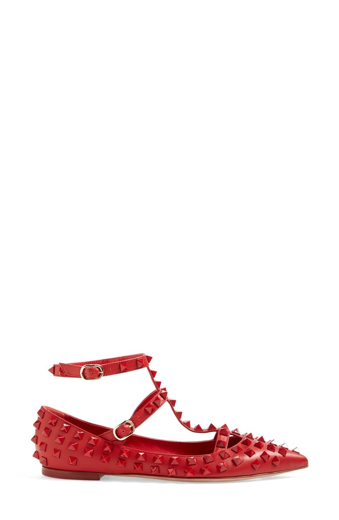 'Rockstud' T-Strap Pointy Toe Flat,                             Alternate thumbnail 2, color,                             600