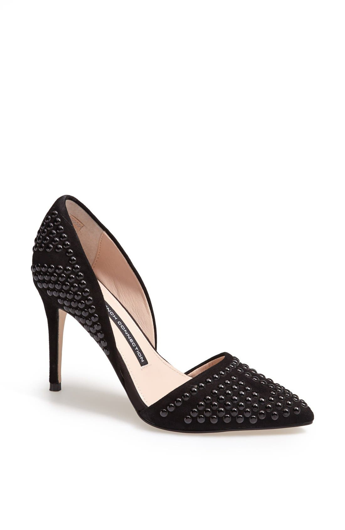 'Ellis' Studded Nubuck d'Orsay Pump, Main, color, 001