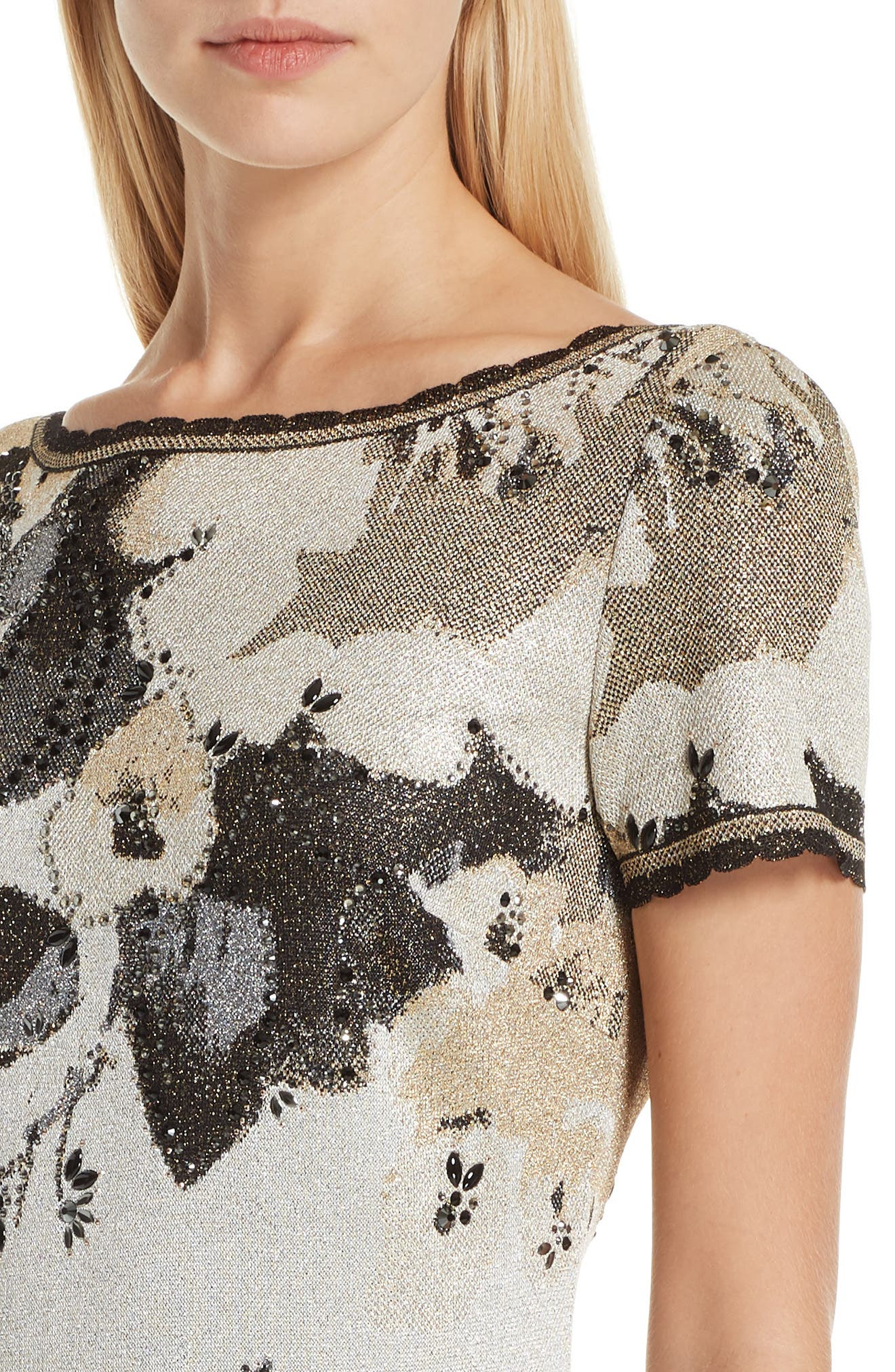 ST. JOHN COLLECTION,                             Gold Leaf Jacquard Knit Dress,                             Alternate thumbnail 4, color,                             METALLIC MULTI