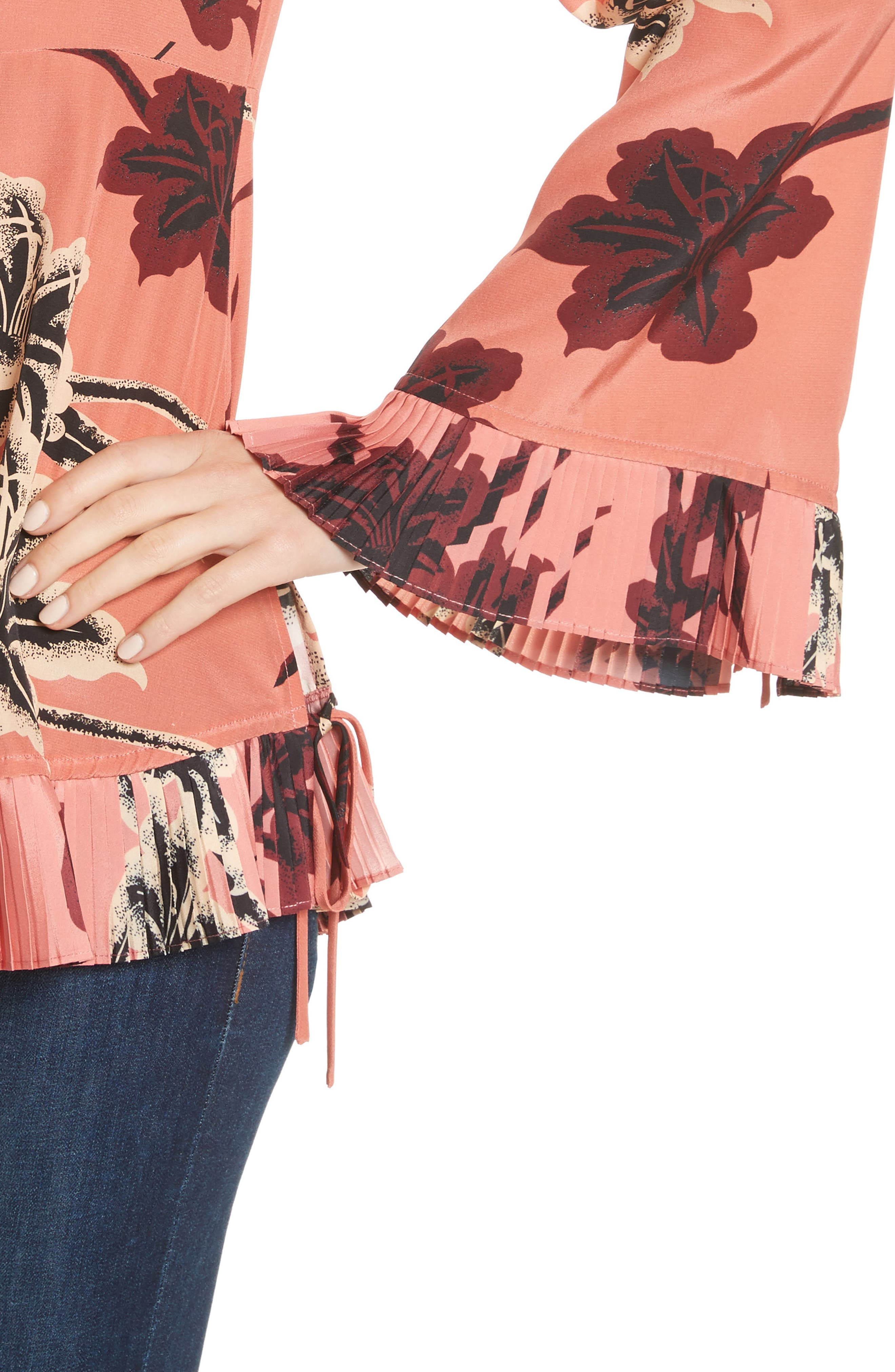 V-Neck Pleated Hem Silk Blouse,                             Alternate thumbnail 4, color,