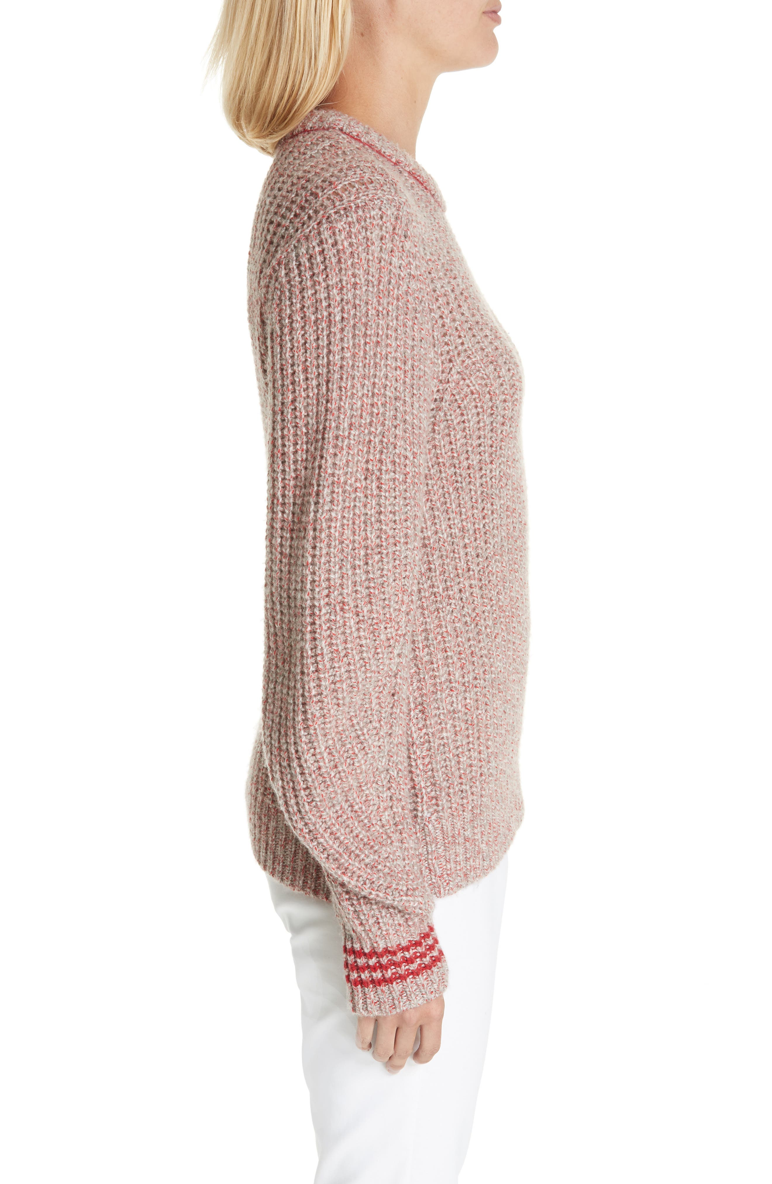 Cheryl Stripe Cuff Wool Blend Sweater,                             Alternate thumbnail 3, color,                             067