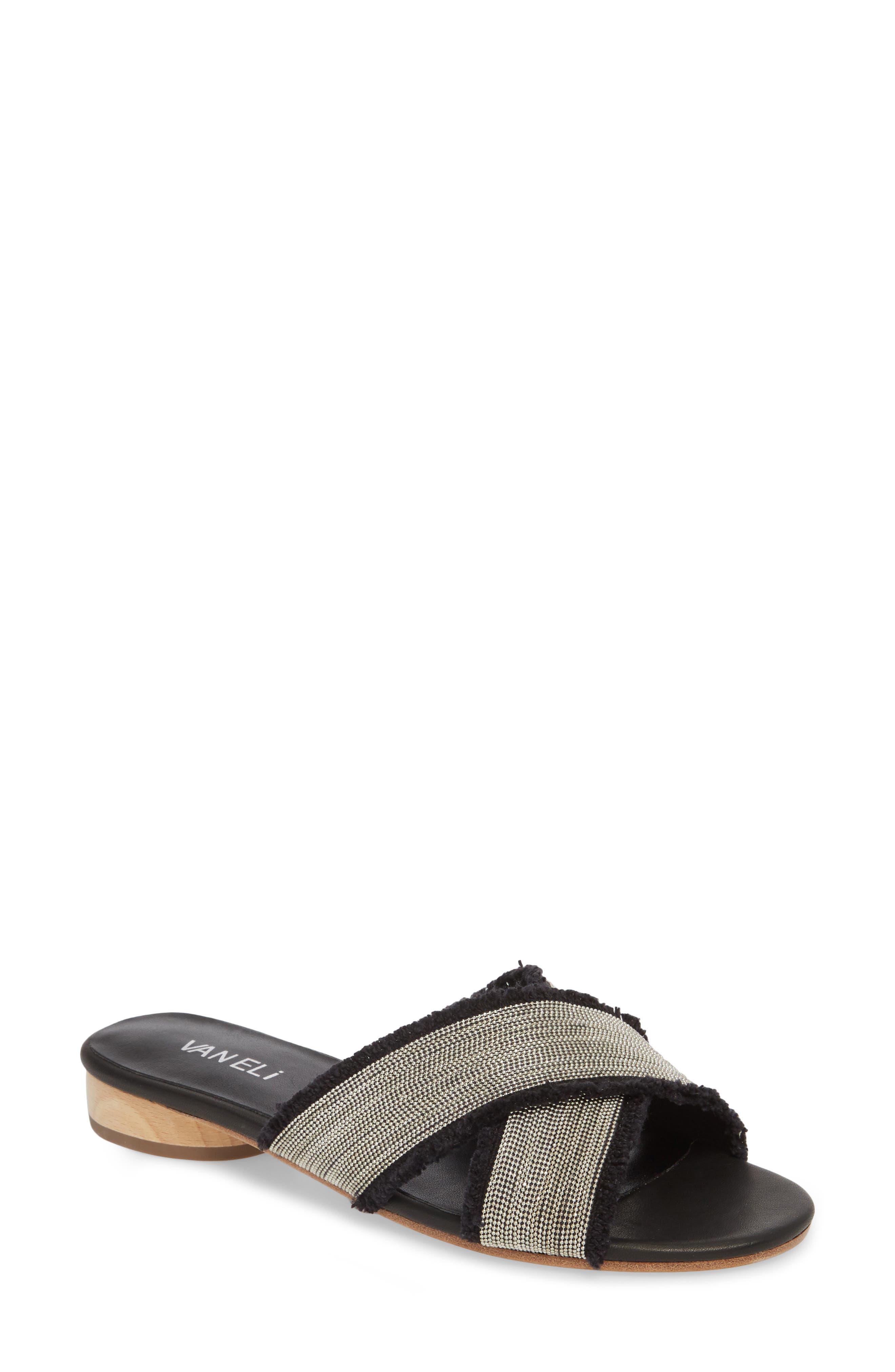 Baret Embellished Cross Strap Slide Sandal,                         Main,                         color, BLACK FABRIC