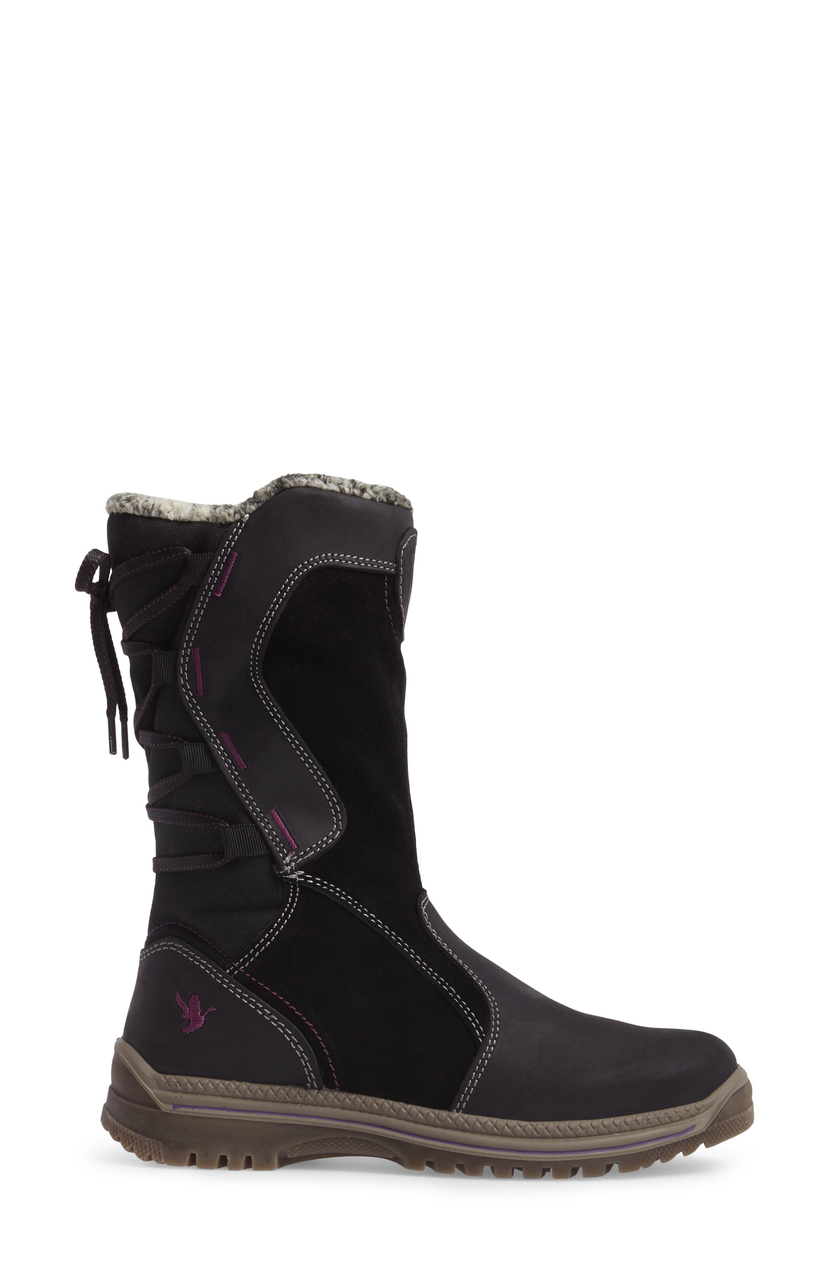 Mayer Faux Fur Lined Waterproof Boot,                             Alternate thumbnail 3, color,                             002