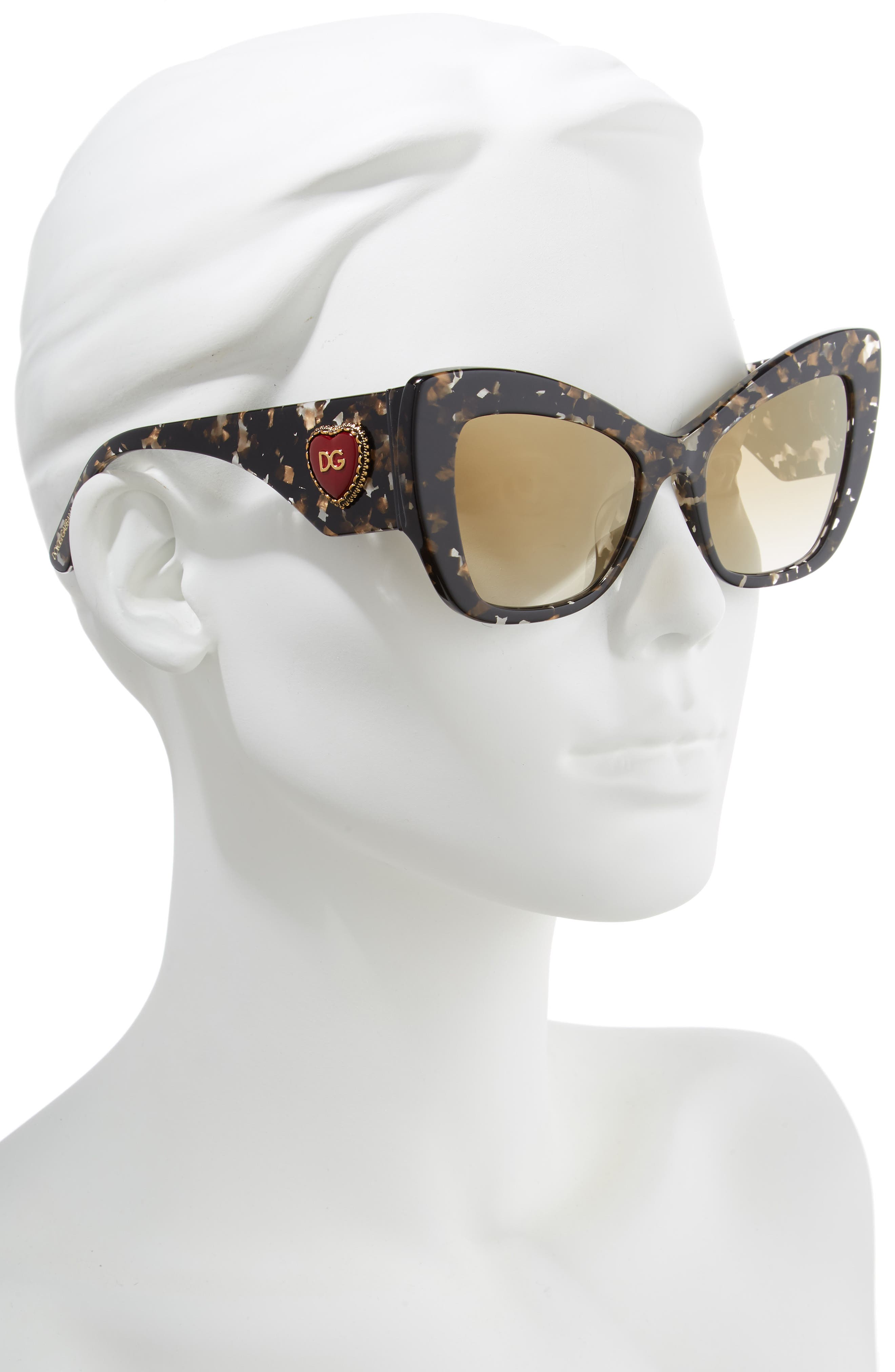 DOLCE&GABBANA,                             Sacred Heart 54mm Gradient Cat Eye Sunglasses,                             Alternate thumbnail 2, color,                             BLACK GOLD GRADIENT MIRROR