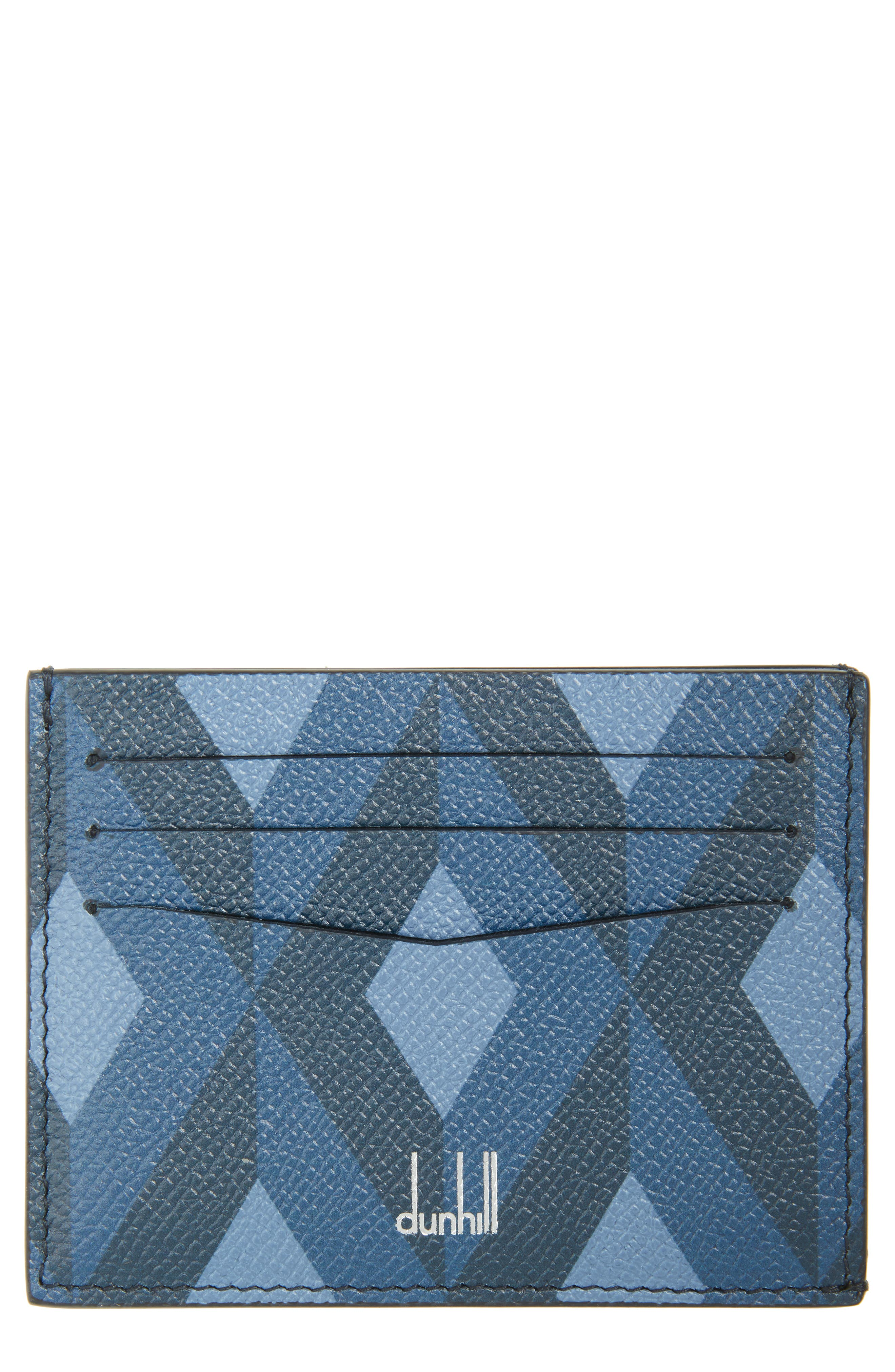 Dunnhill Cadogan Leather Card Case,                             Main thumbnail 1, color,                             BLUE
