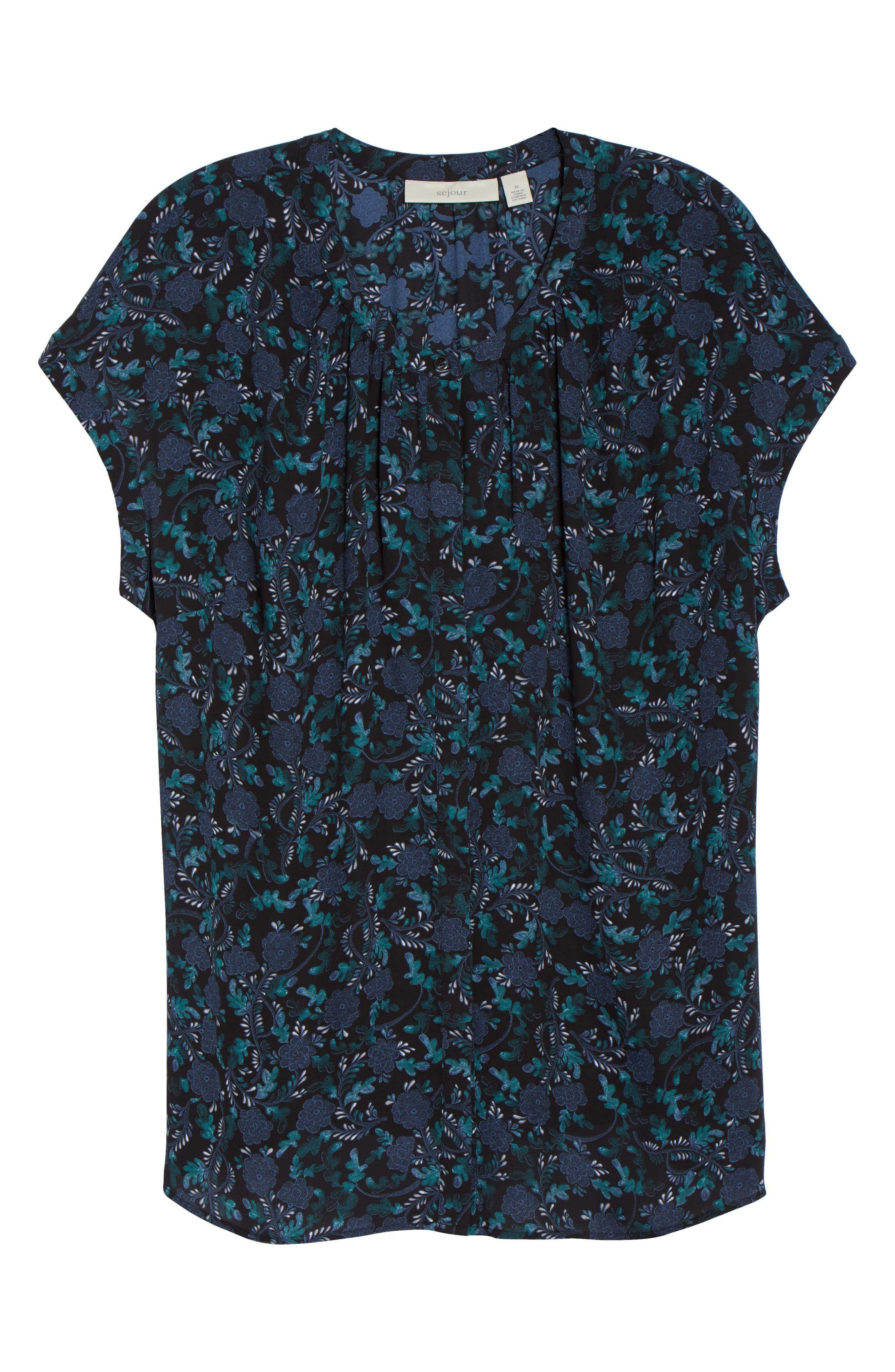 Gathered Neck Button Down Top,                             Alternate thumbnail 6, color,                             BLACK- GREEN FLORAL PRINT
