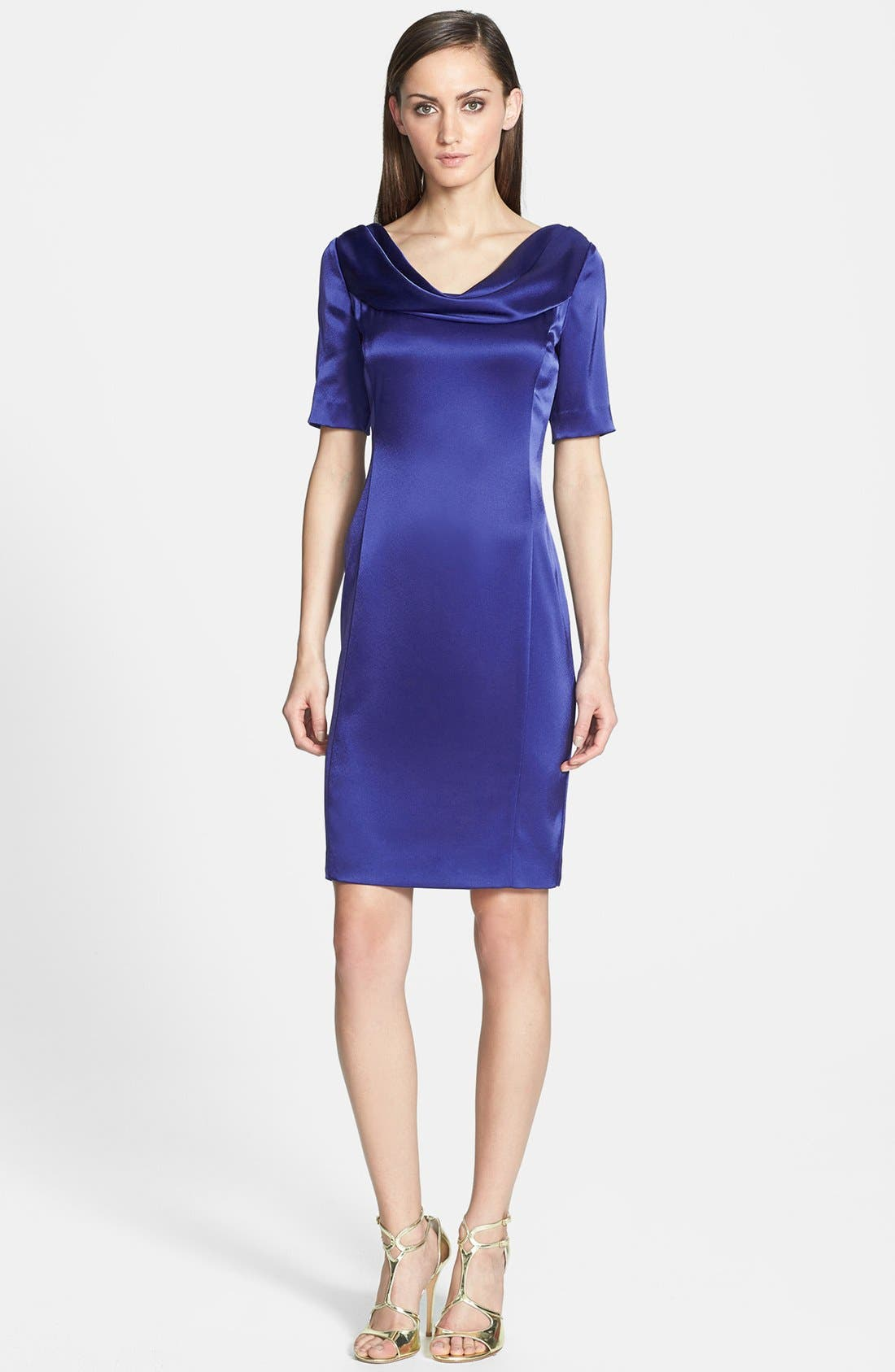 Liquid Satin Cowl Neck Dress,                             Main thumbnail 1, color,                             400