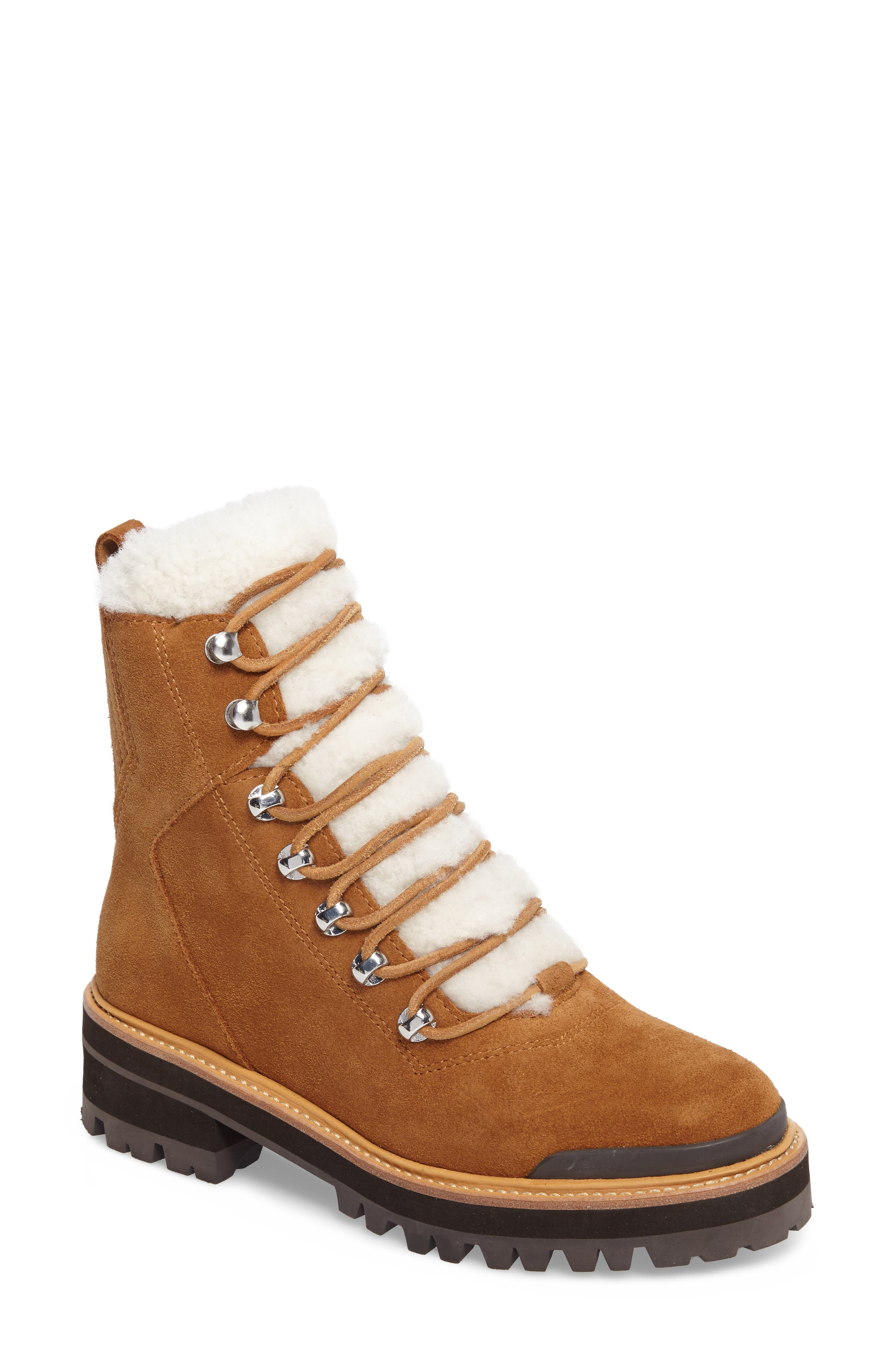 Izzie Genuine Shearling Lace-Up Boot,                             Main thumbnail 1, color,                             COGNAC SUEDE