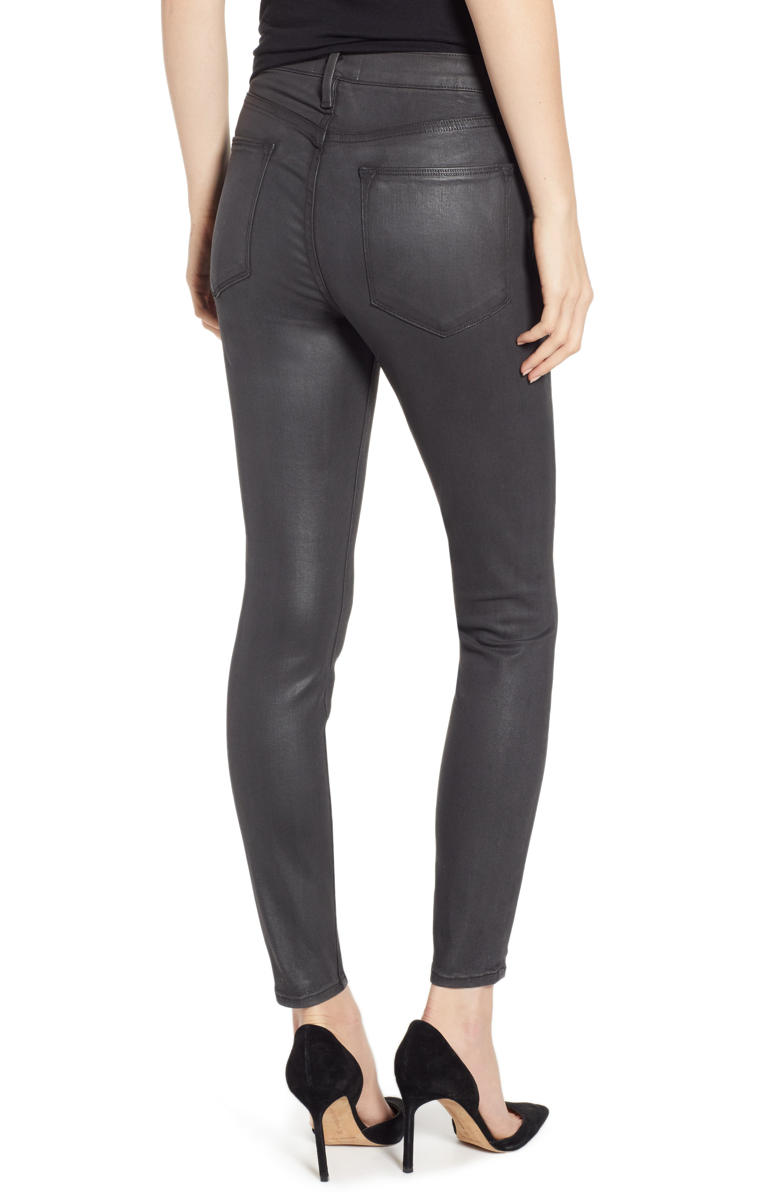 Le High Ankle Skinny Jeans,                             Alternate thumbnail 2, color,                             STONE COATED