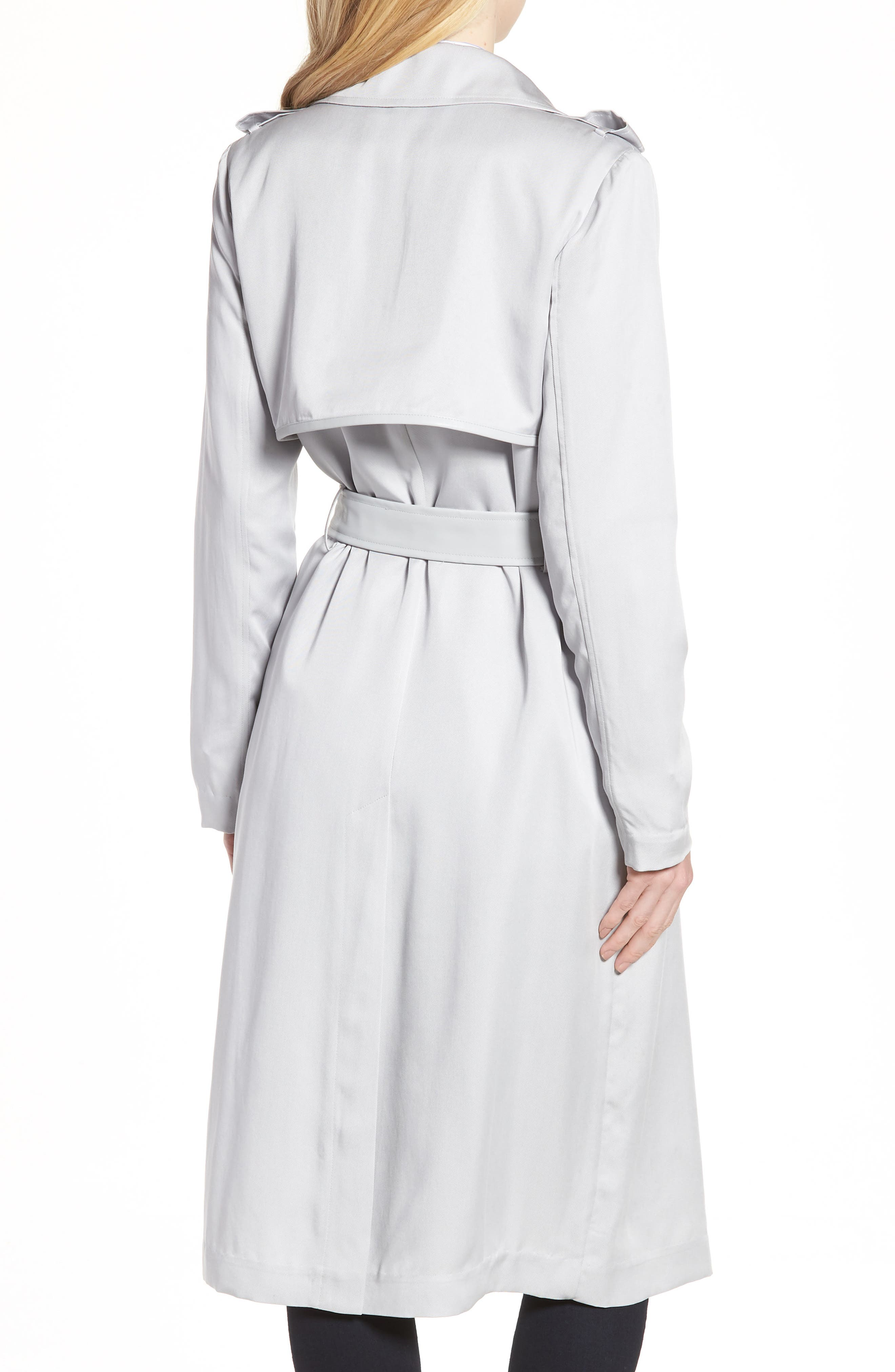 Badgley Mischka Faux Leather Trim Long Trench Coat,                             Alternate thumbnail 2, color,                             020