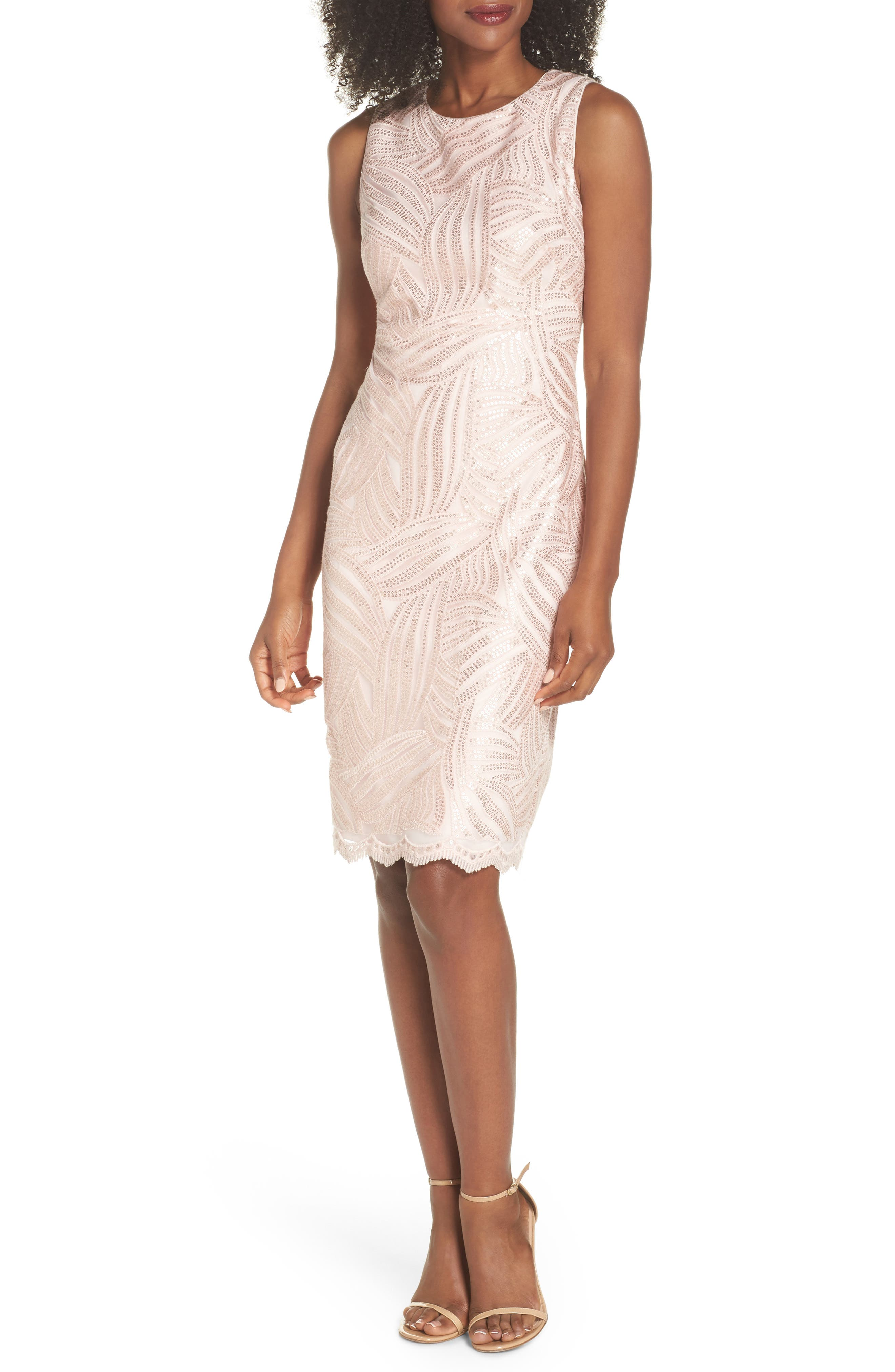 Sleeveless Sequin Sheath Dress,                         Main,                         color, 680