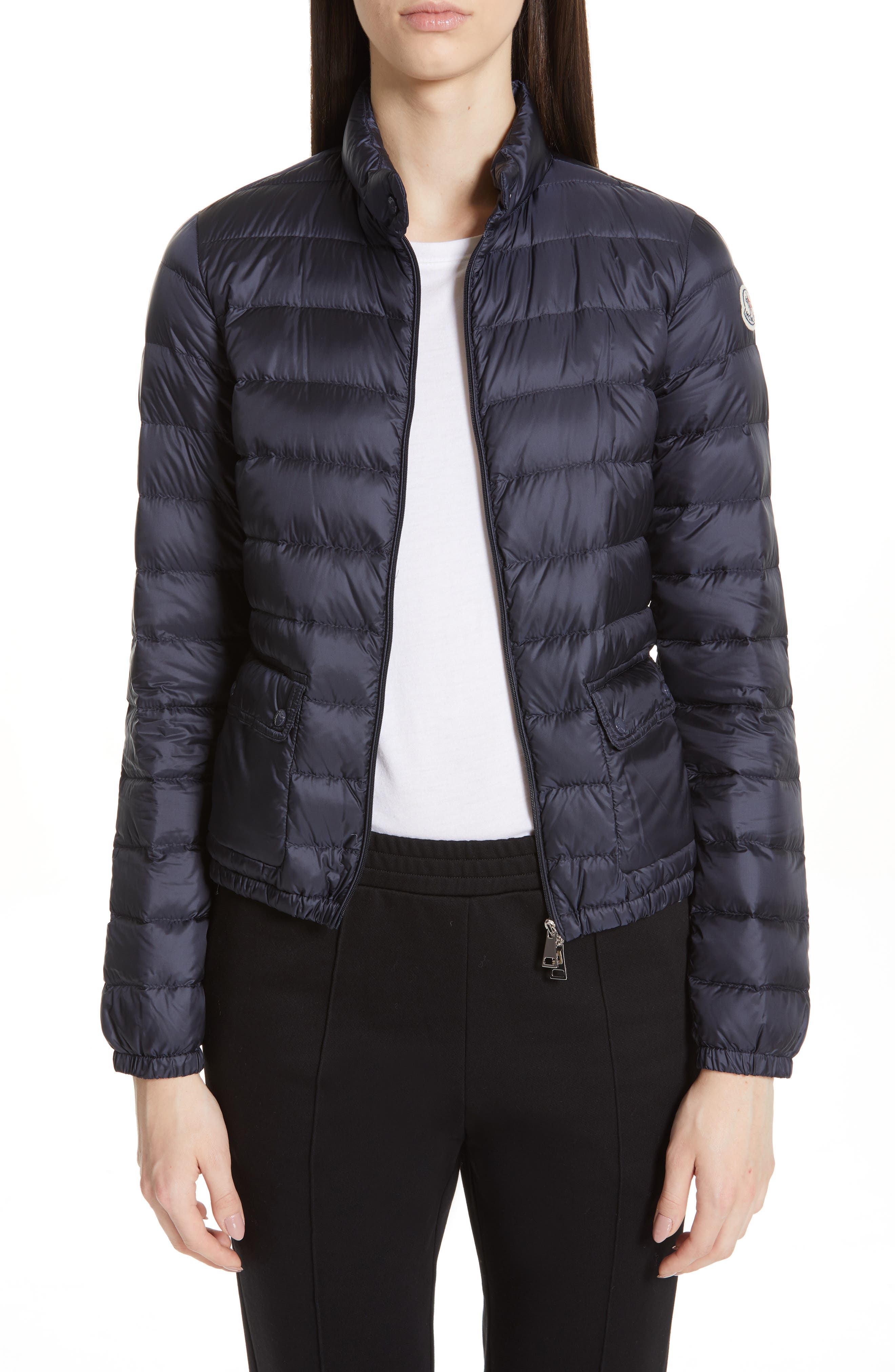Moncler Lans Water Resistant Quilted Down Jacket, Blue