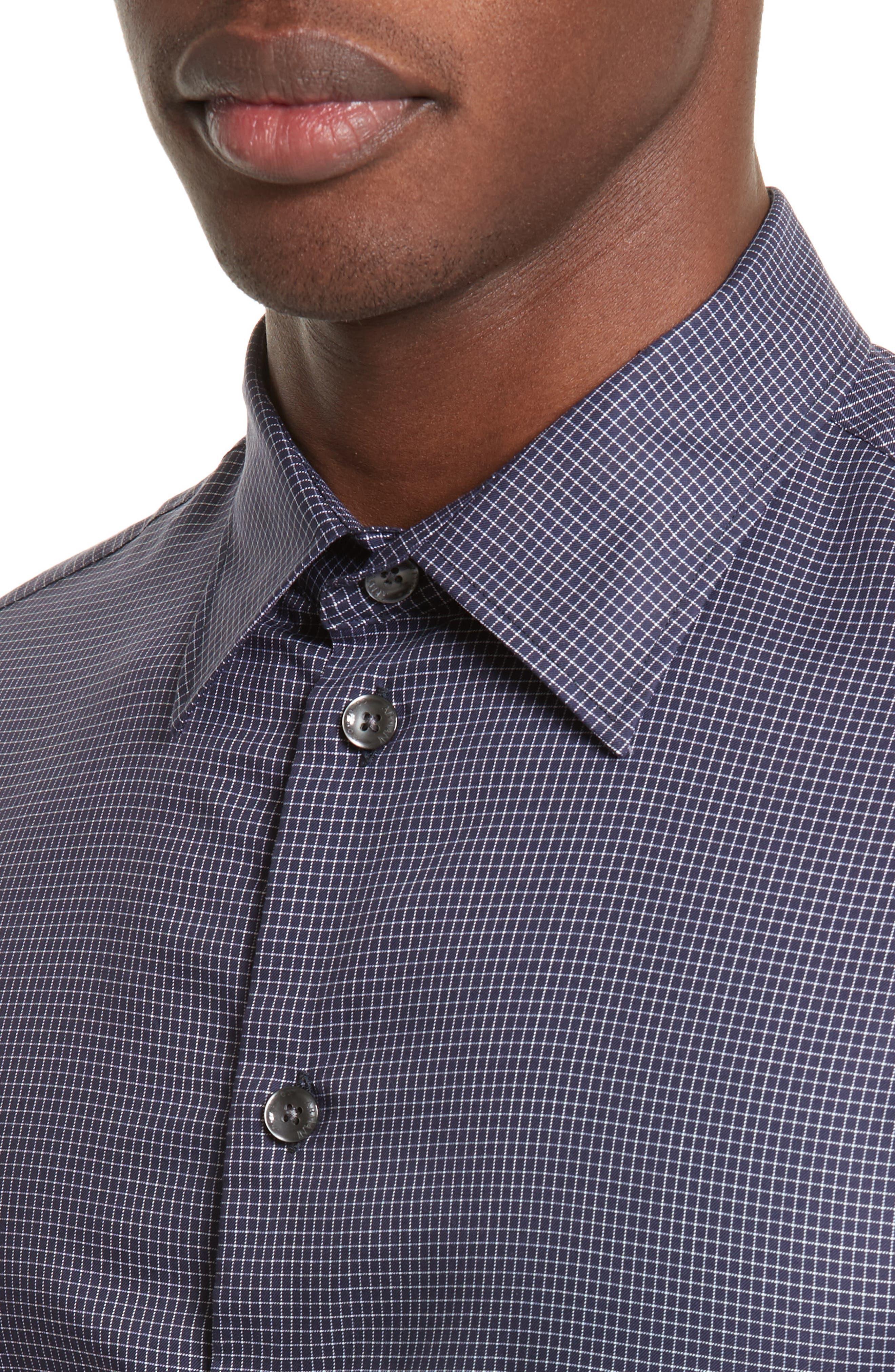Slim Fit Grid Print Sport Shirt,                             Alternate thumbnail 4, color,                             484