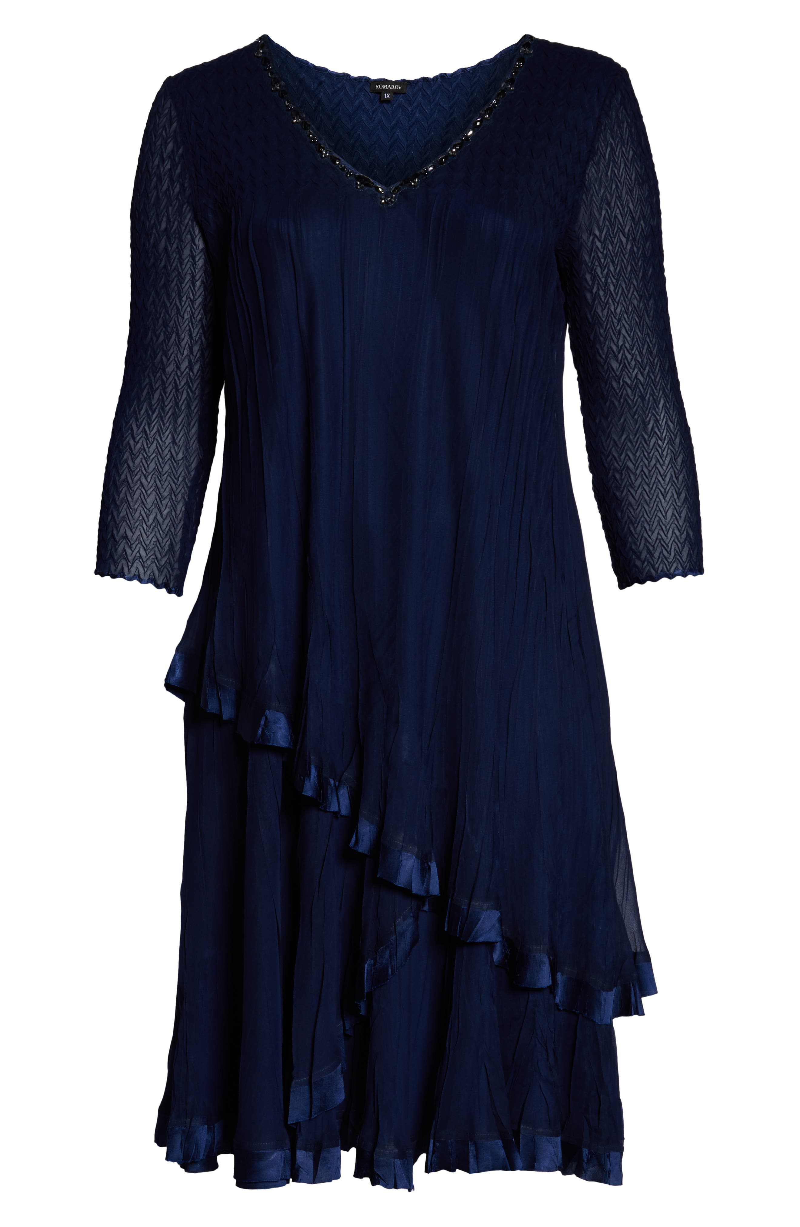 Beaded V-Neck Asymmetrical Tiered Cocktail Dress,                             Alternate thumbnail 7, color,                             MIDNIGHT NAVY