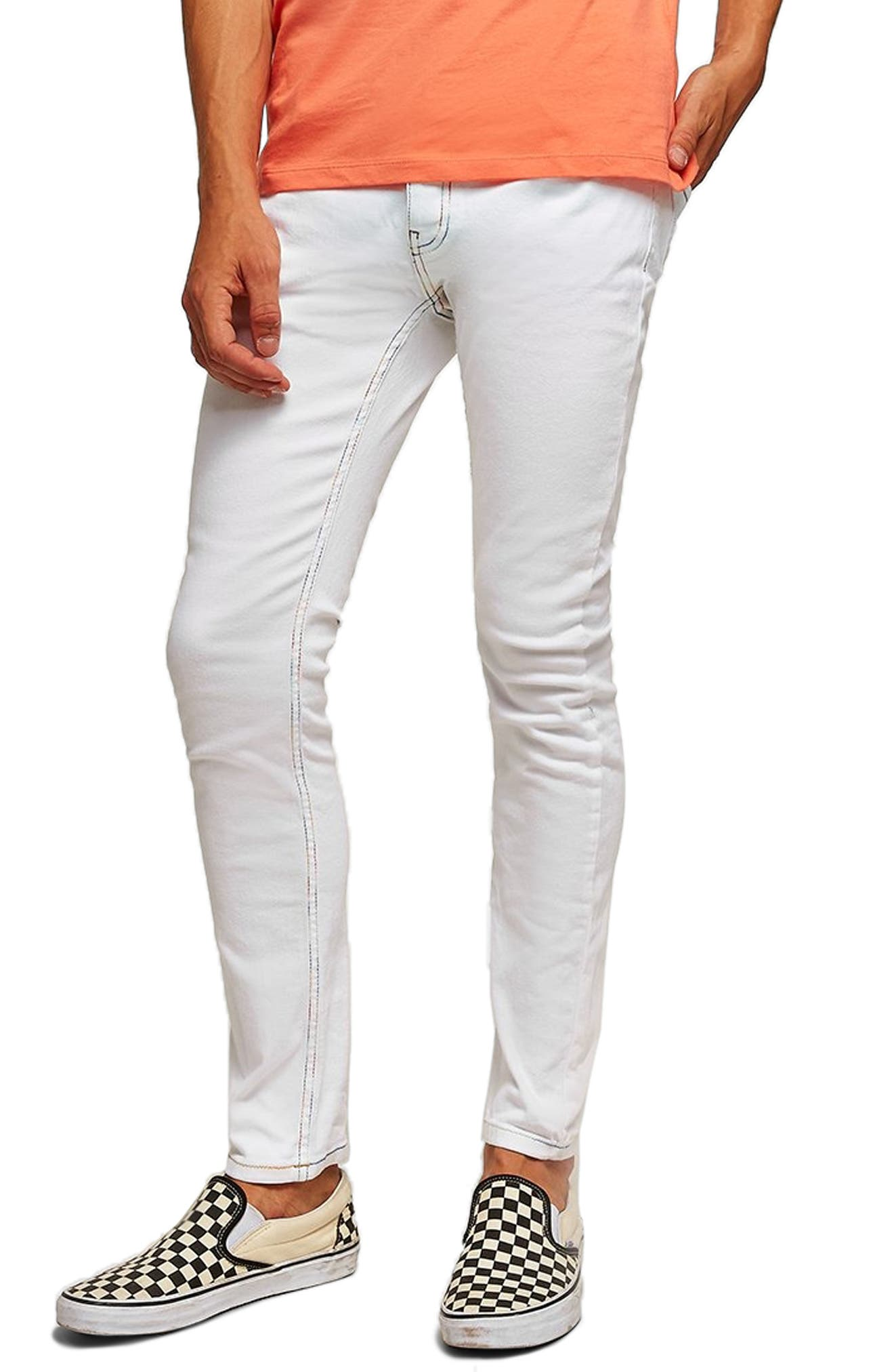 Contrast Stitch Skinny Fit Jeans,                             Main thumbnail 1, color,                             WHITE