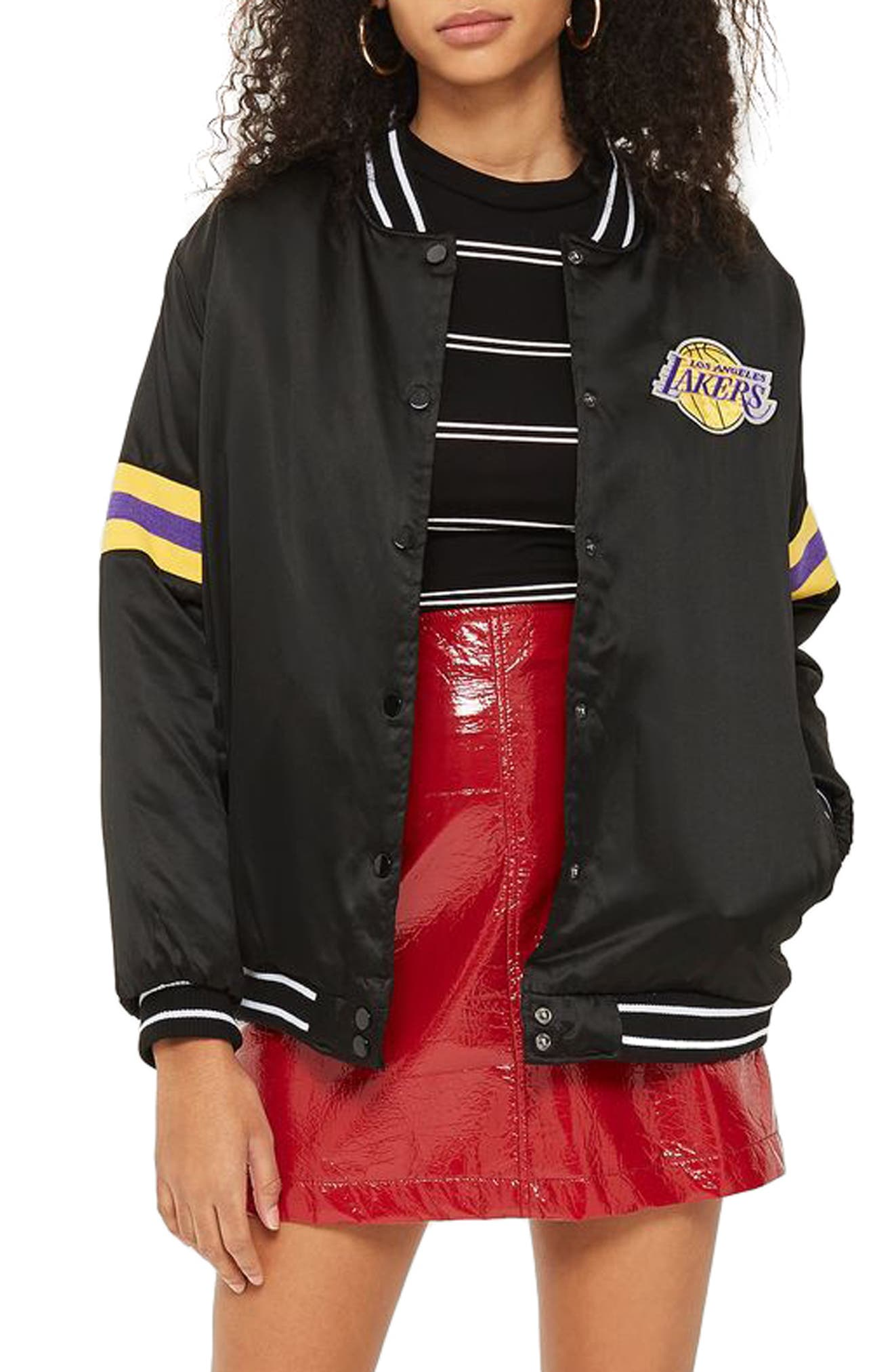 x UNK Lakers Bomber Jacket,                         Main,                         color, 001