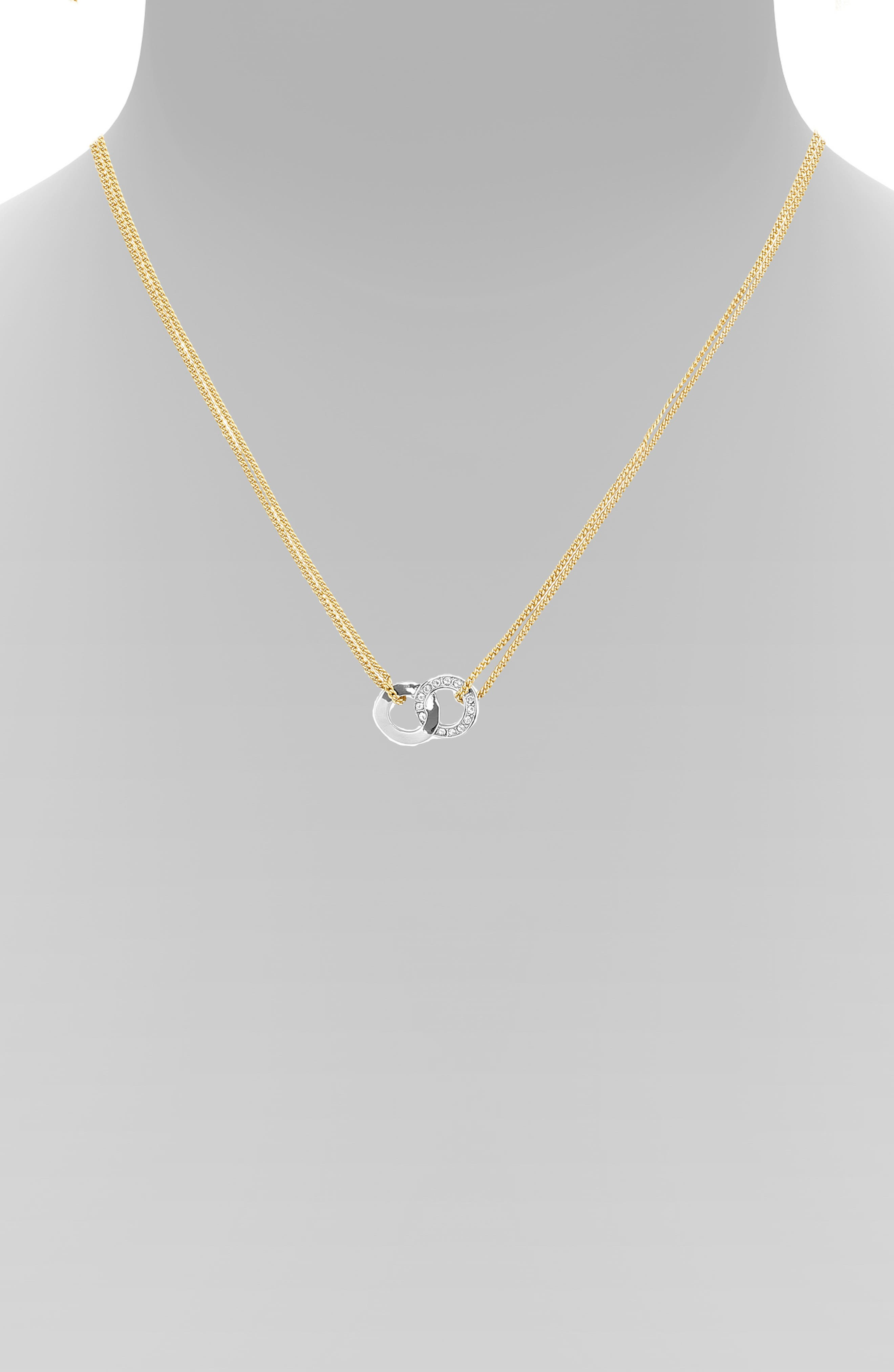 ADORE,                             Interlocking Ring Necklace,                             Alternate thumbnail 3, color,                             GOLD/ SILVER