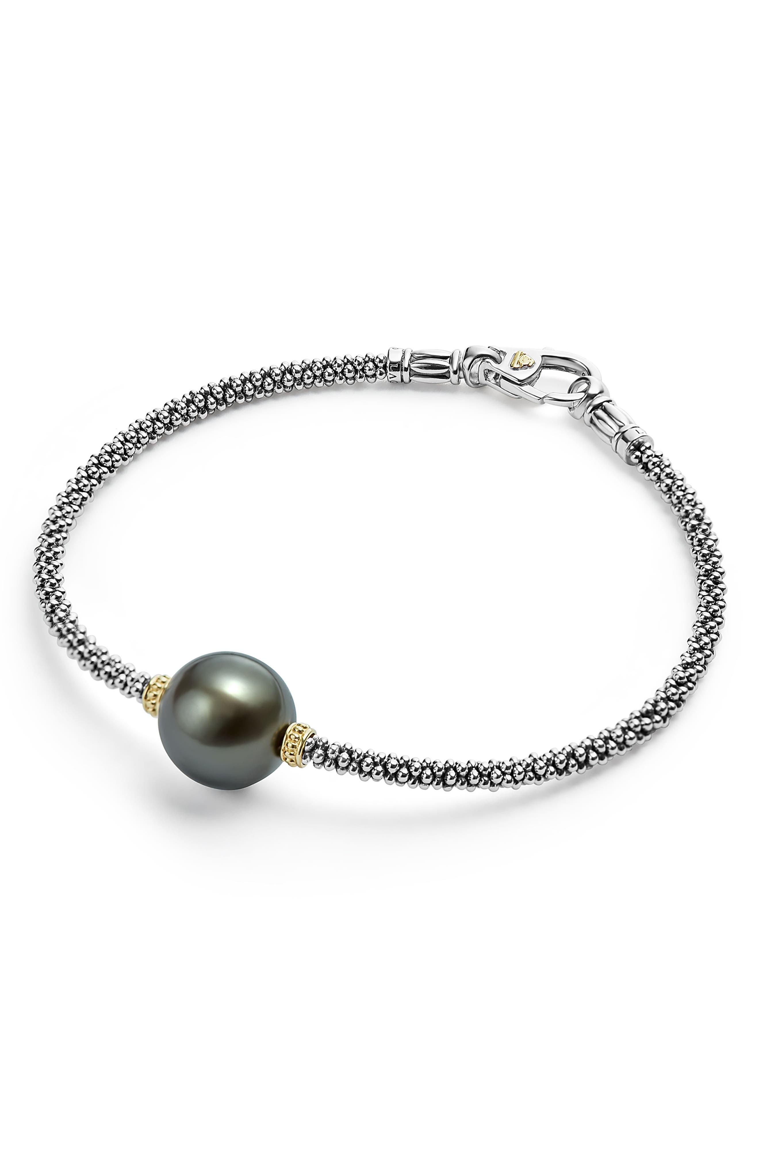 Luna Pearl Single Station Bracelet,                             Alternate thumbnail 3, color,                             BLACK PEARL