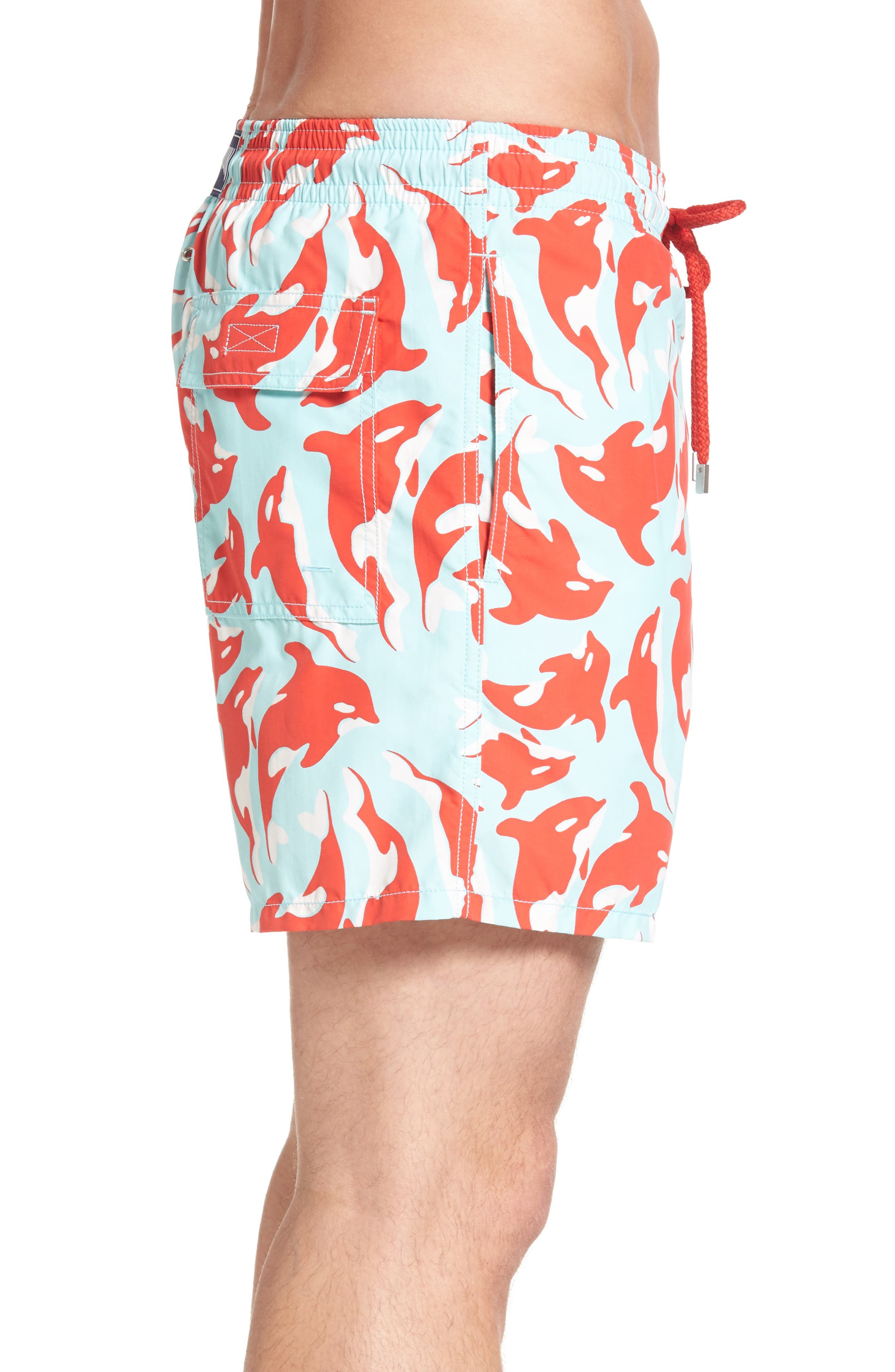 Moorea Galaks Print Swim Trunks,                             Alternate thumbnail 3, color,                             FROSTED BLUE