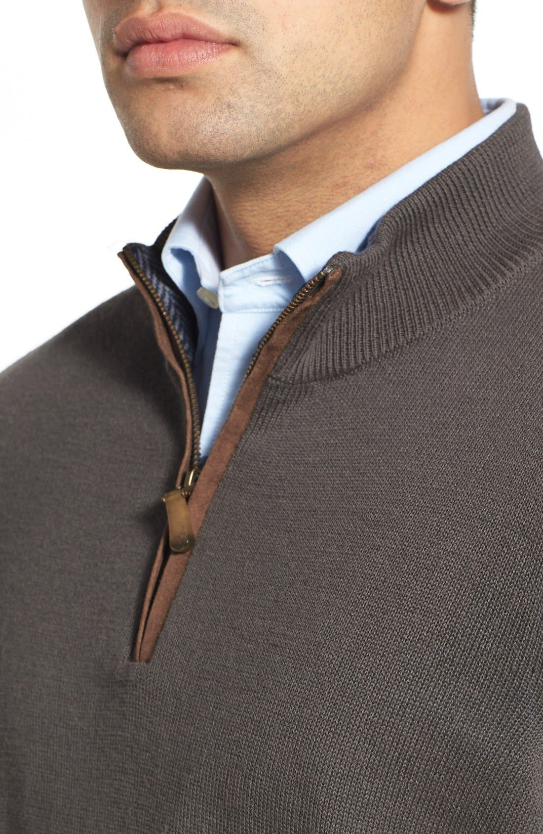 'Round Hill' Quarter Zip Sweater with Suede Elbow Patches,                             Alternate thumbnail 2, color,                             025