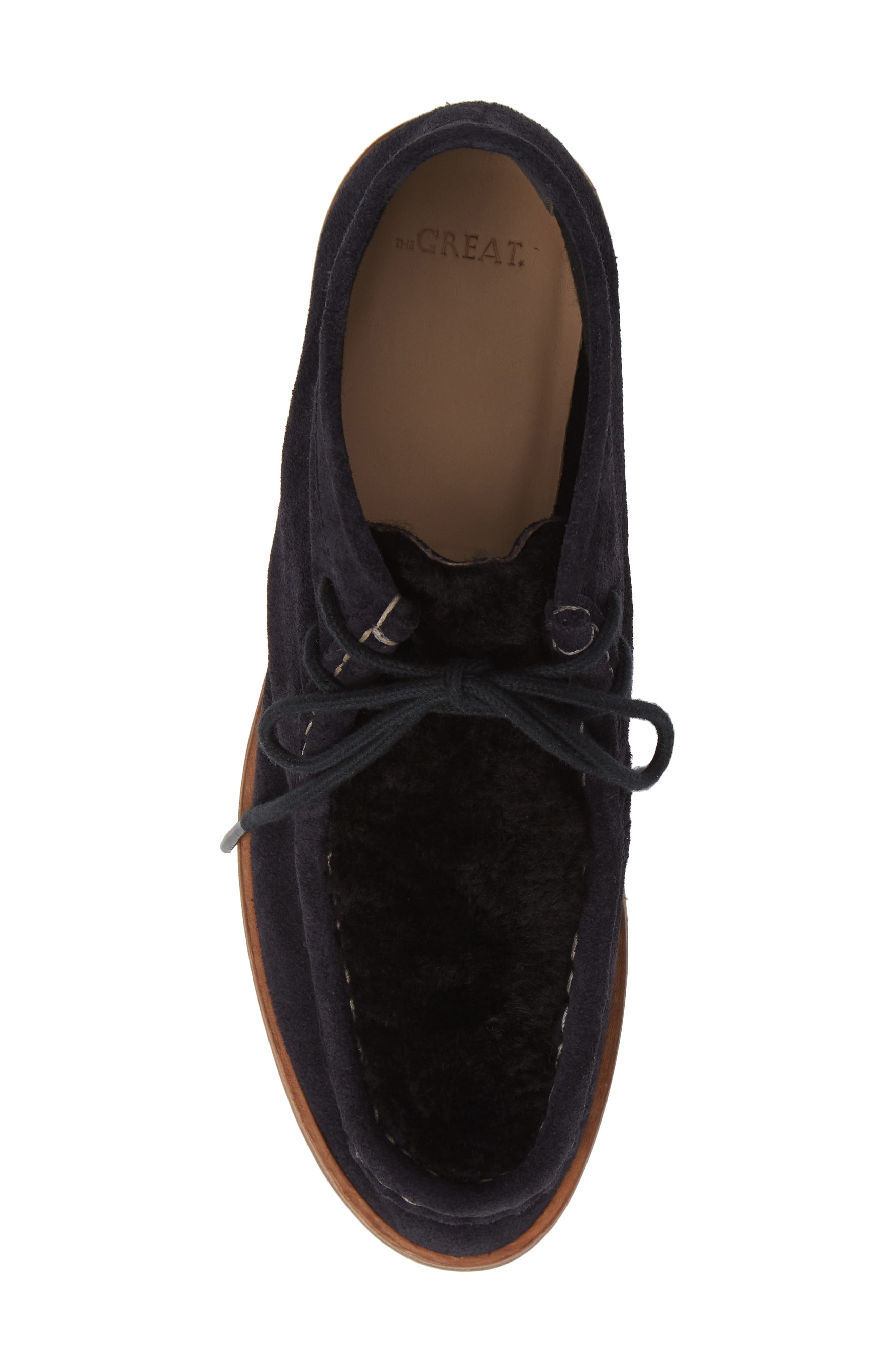 The Trooper Genuine Shearling Lined Shoe,                             Alternate thumbnail 5, color,                             MIDNIGHT/ BLACK SHEARLING